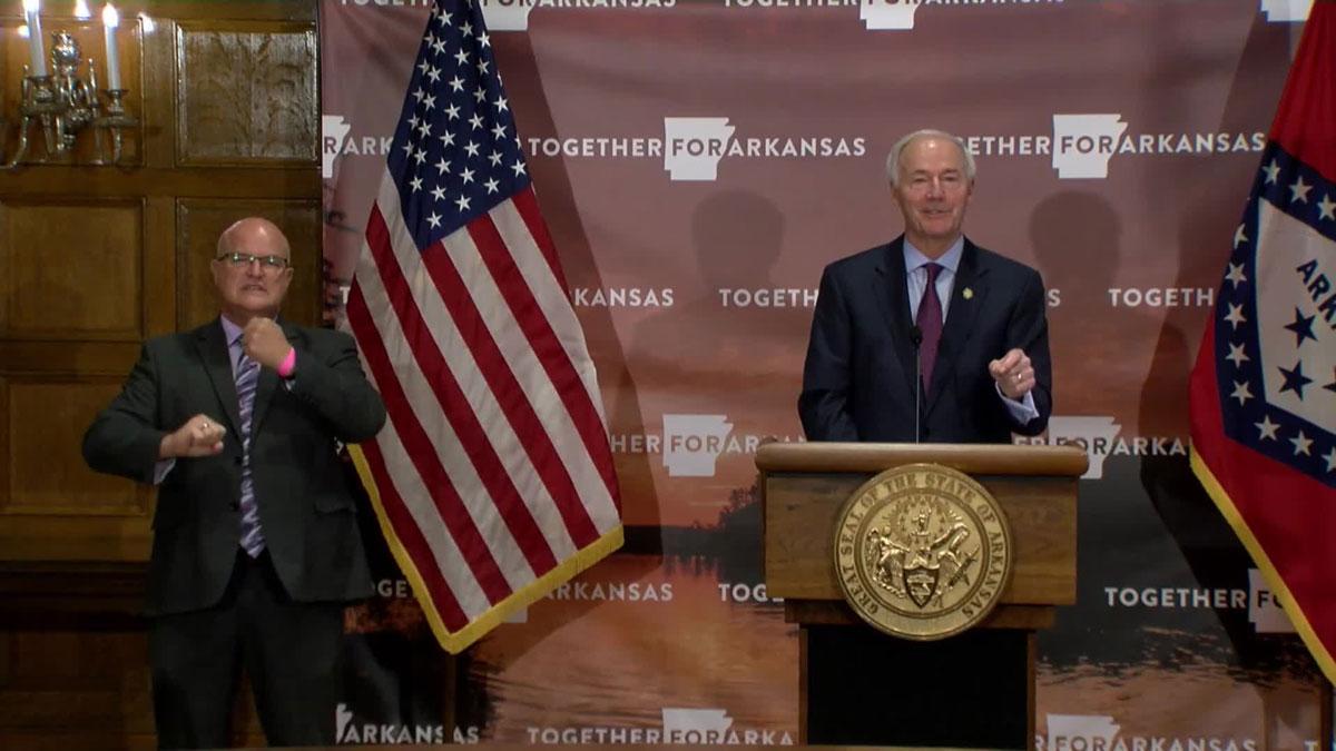 Arkansas Governor Asa Hutchinson updates the media on the state's COVID-19 response on November 3.