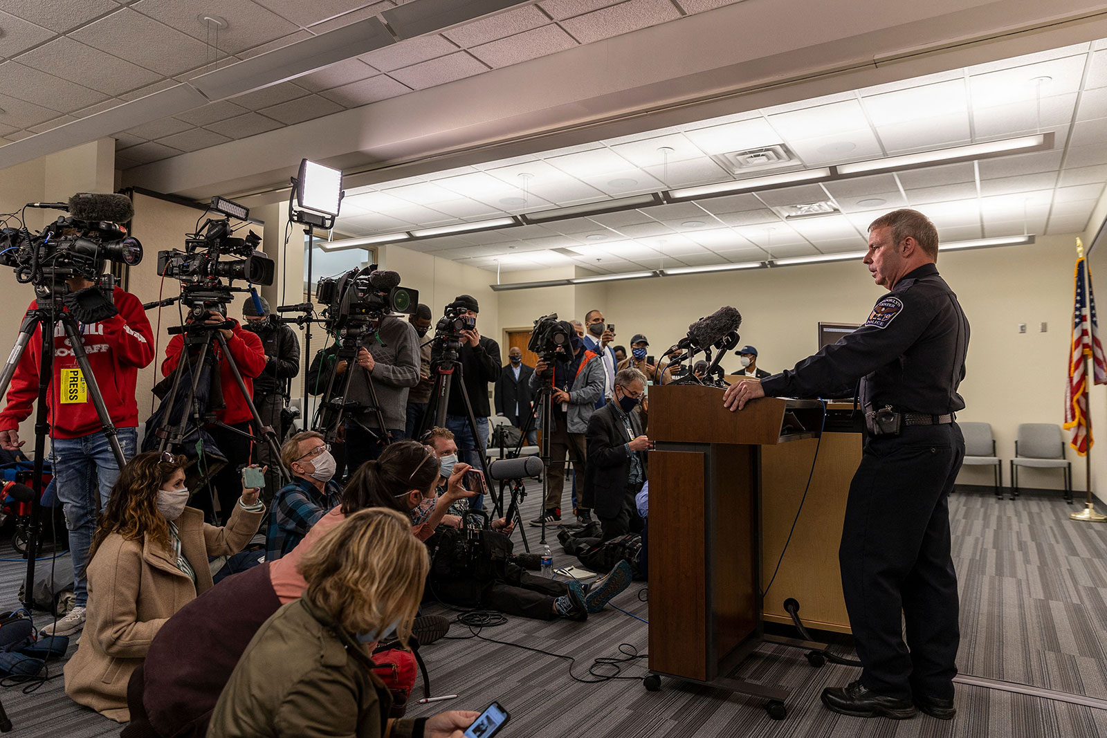 Brooklyn Center Police Chief Tim Gannon speaks at a press conference on Monday.