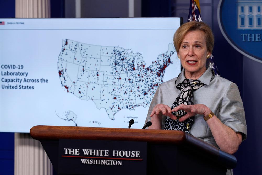 Dr. Deborah Birx, White House coronavirus response coordinator, speaks about the coronavirus at the White House, Friday, April 17, in Washington.