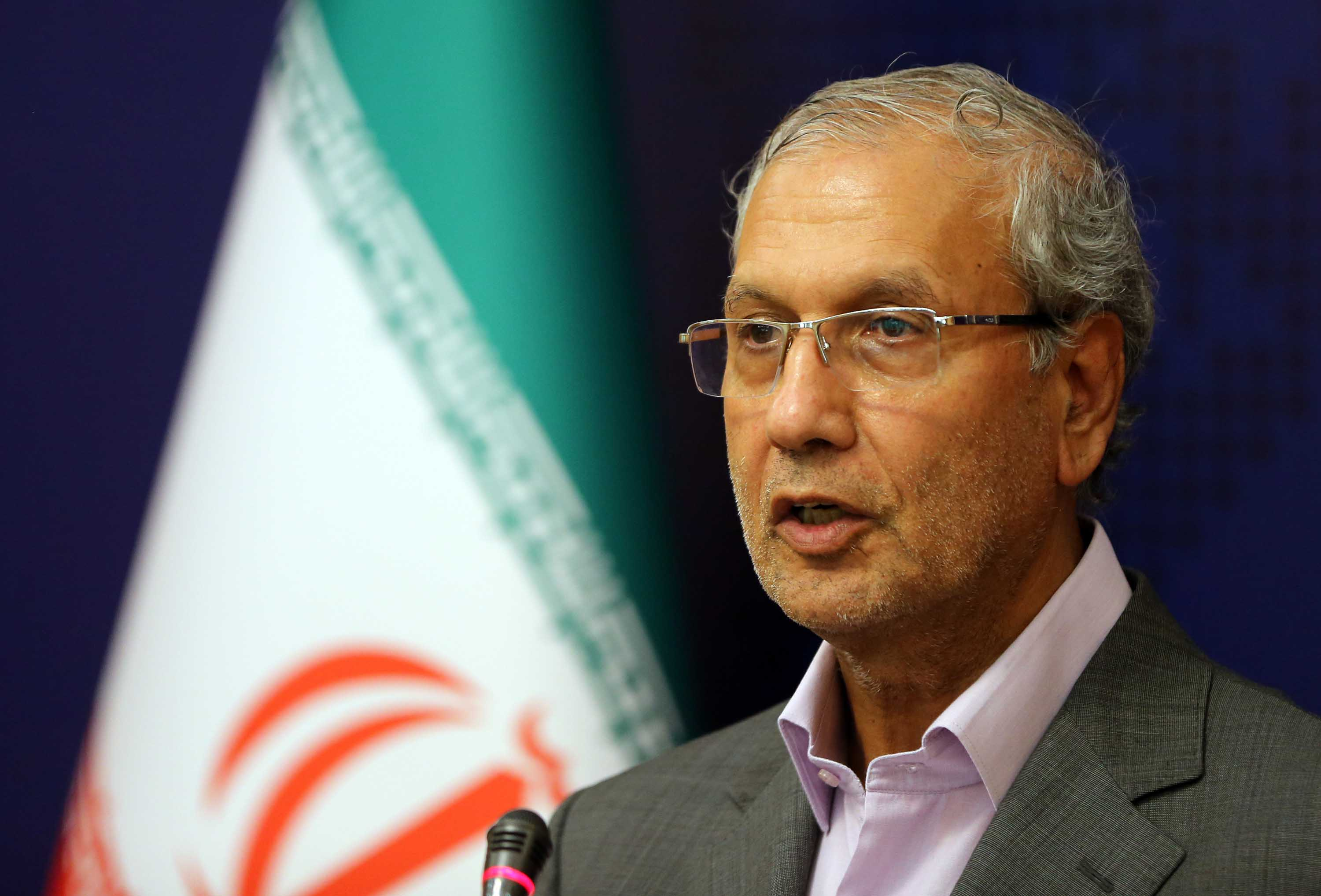 Iranian government spokesman Ali Rabiei is pictured during a news conference in Tehran, Iran in July 2019.