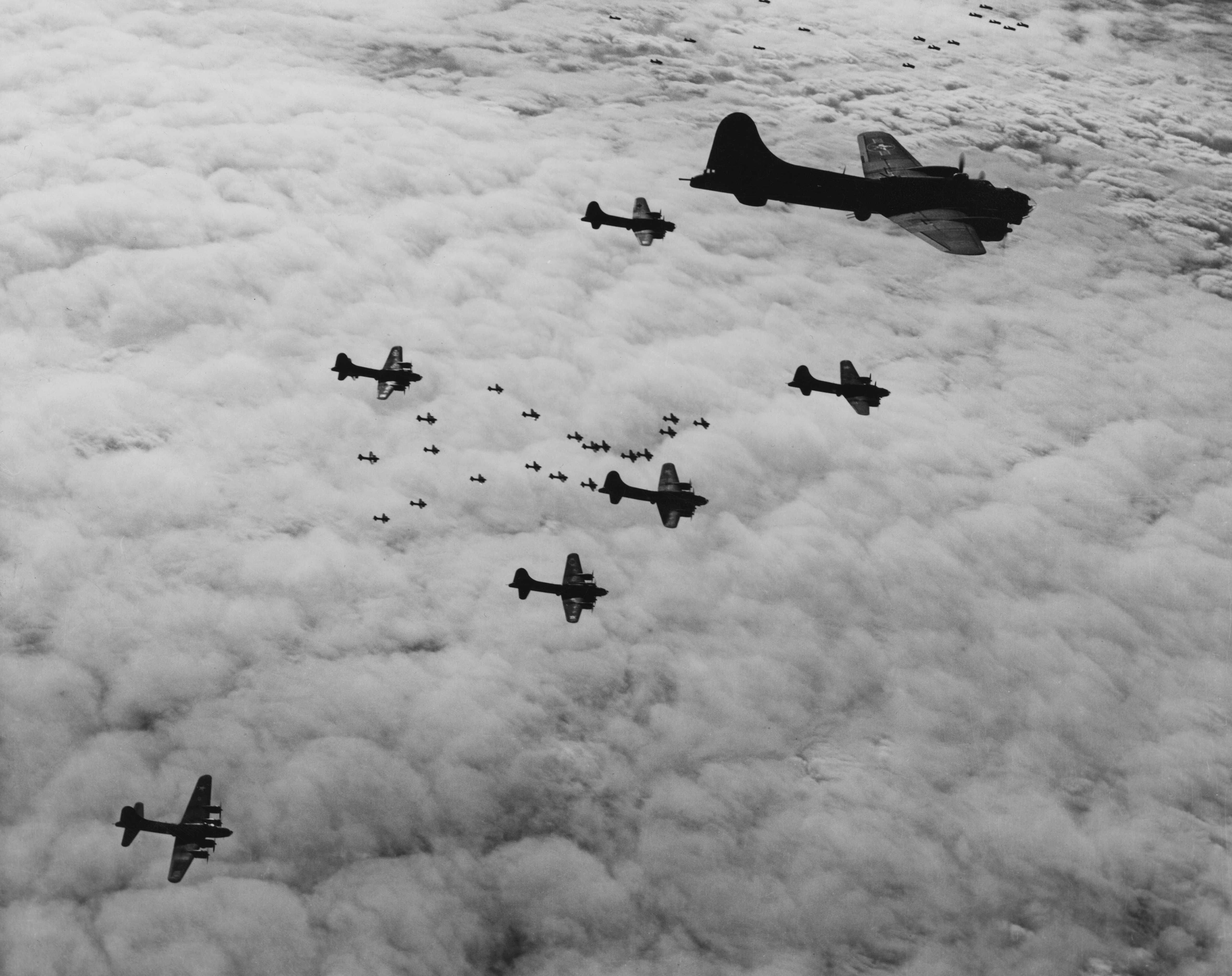 Boeing B-17 bombers flying over Germany in 1943. A plane similar to these crashed in Connecticut this morning.