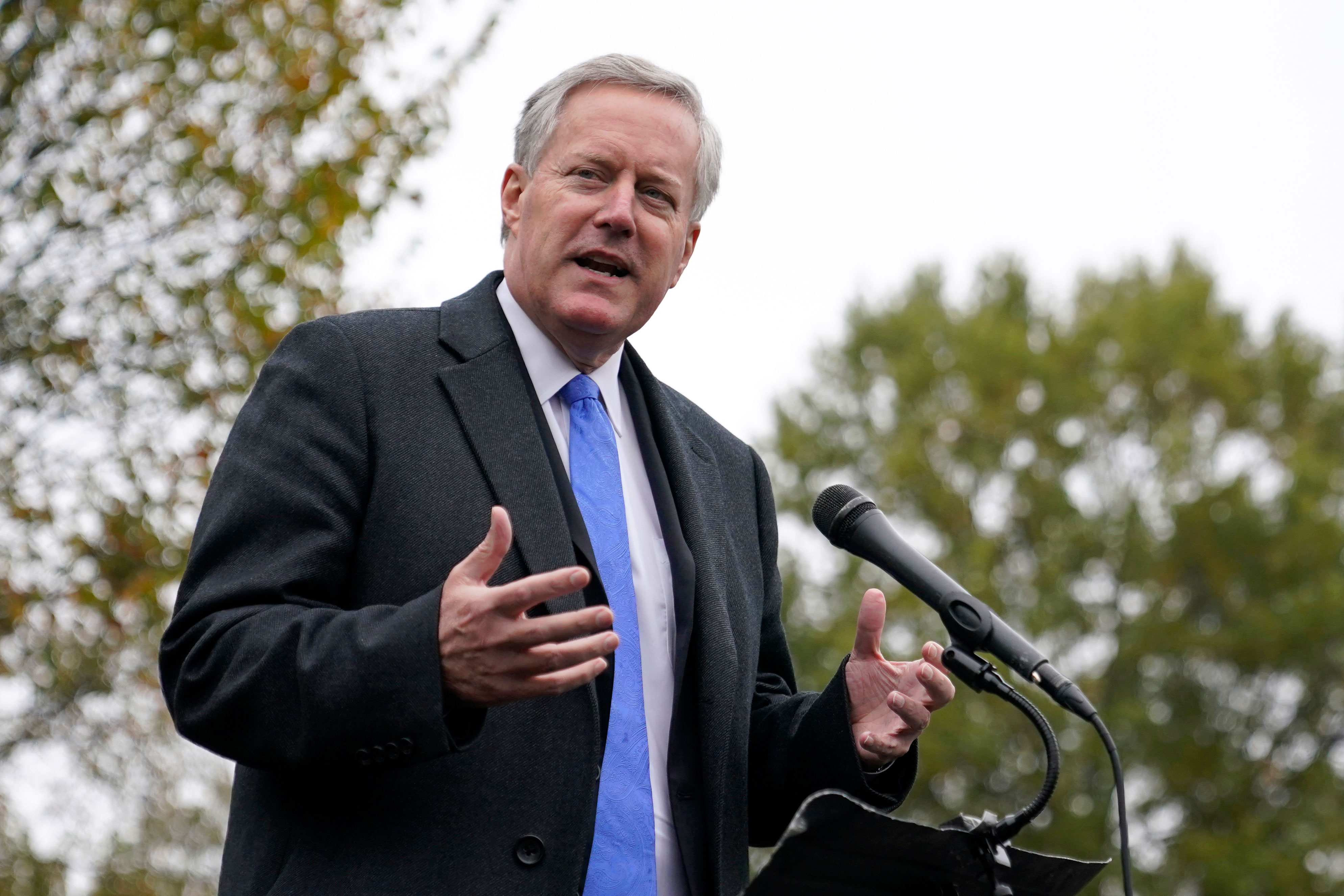 White House chief of staff Mark Meadows speaks with reporters on October 26 outside the White House.