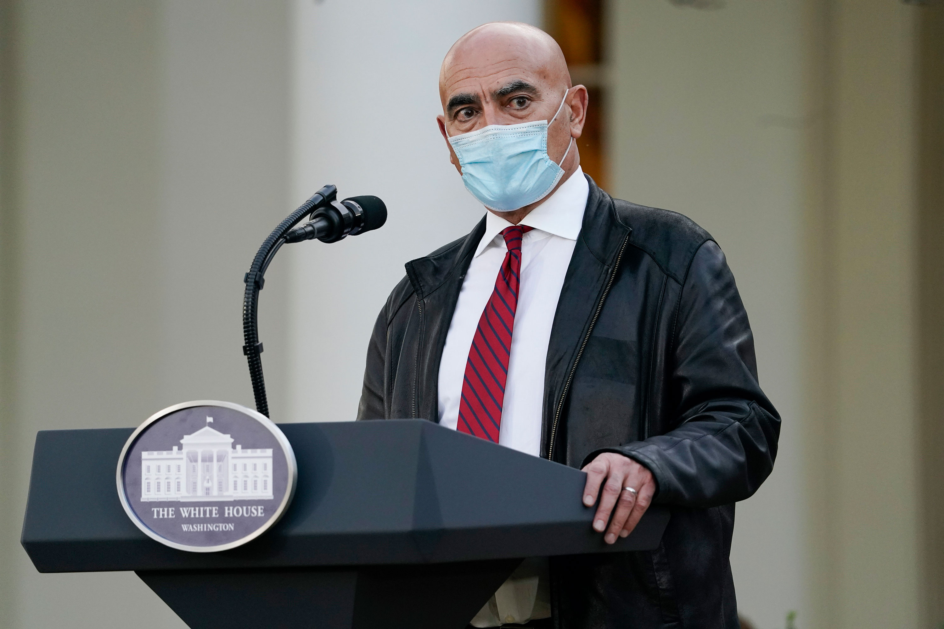 Dr. Moncef Slaoui, chief adviser to Operation Warp Speed, speaks at the White House on November 13 in Washington, DC.