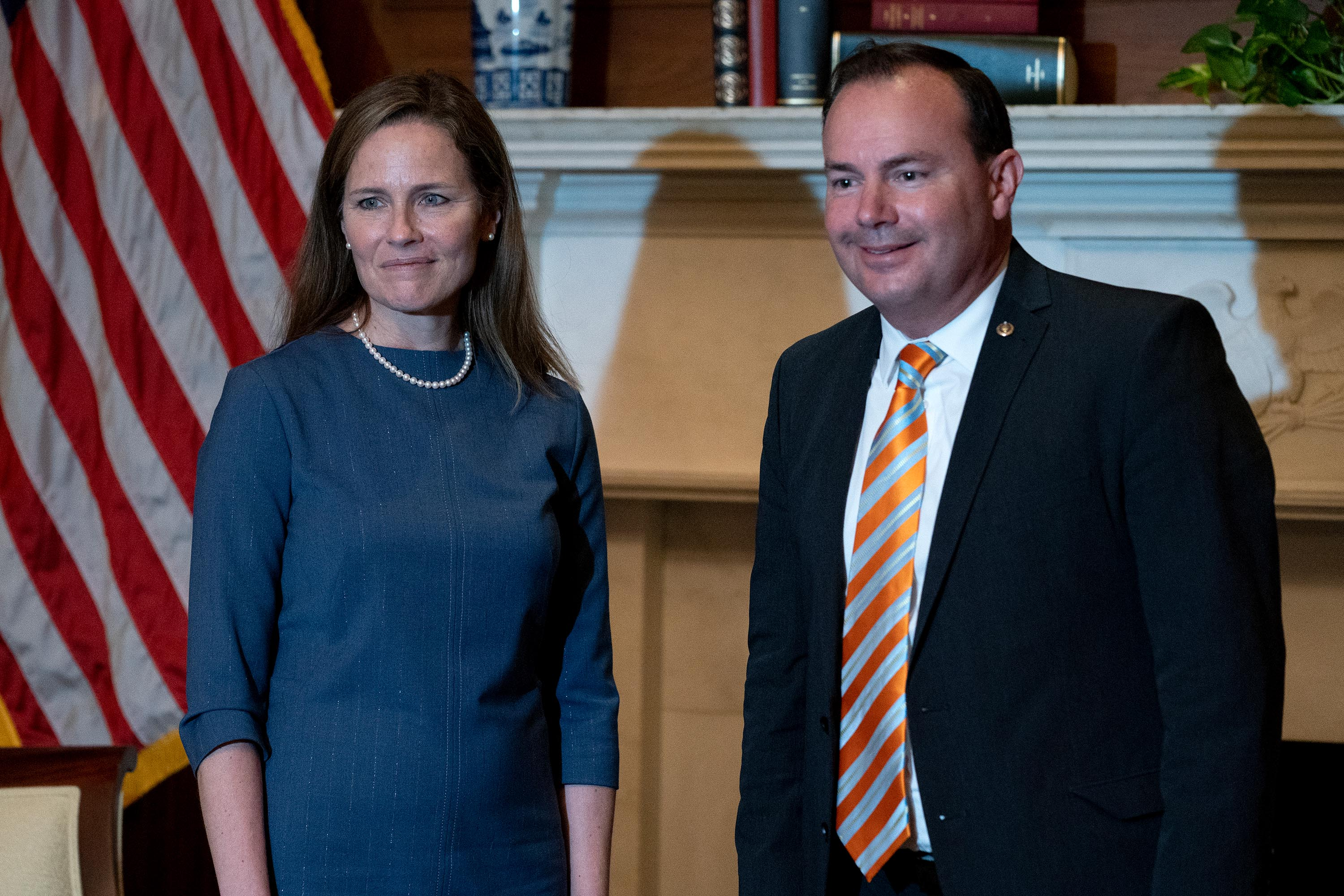 US Supreme Court nominee Amy Coney Barrett meets with Sen. Mike Lee (R-UT) as she begins a series of meetings to prepare for her confirmation hearing at the US Capitol on September 29.