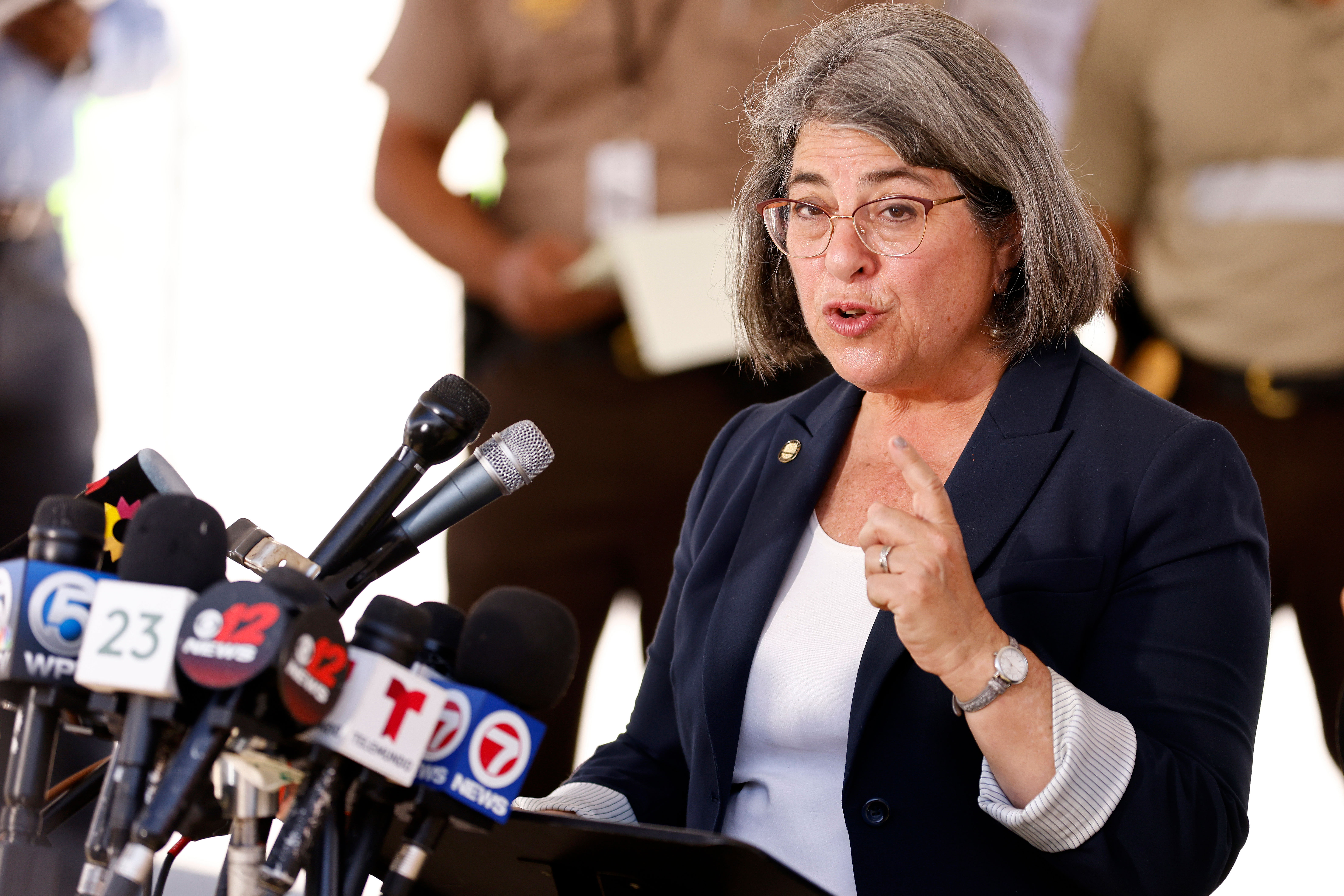 Miami-Dade County Mayor Daniella Levine Cava speaks at a press conference in Surfside, Florida, on July 3, 2021.