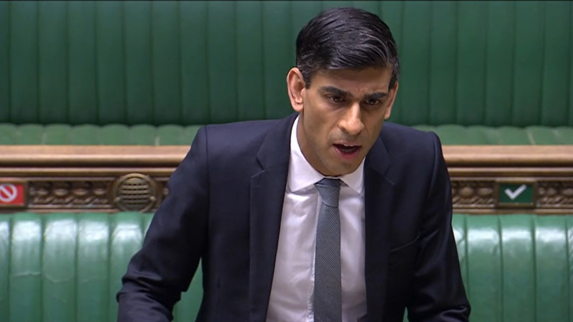 Chancellor Rishi Sunak makes a statement in the House of Commons in London on May 12.