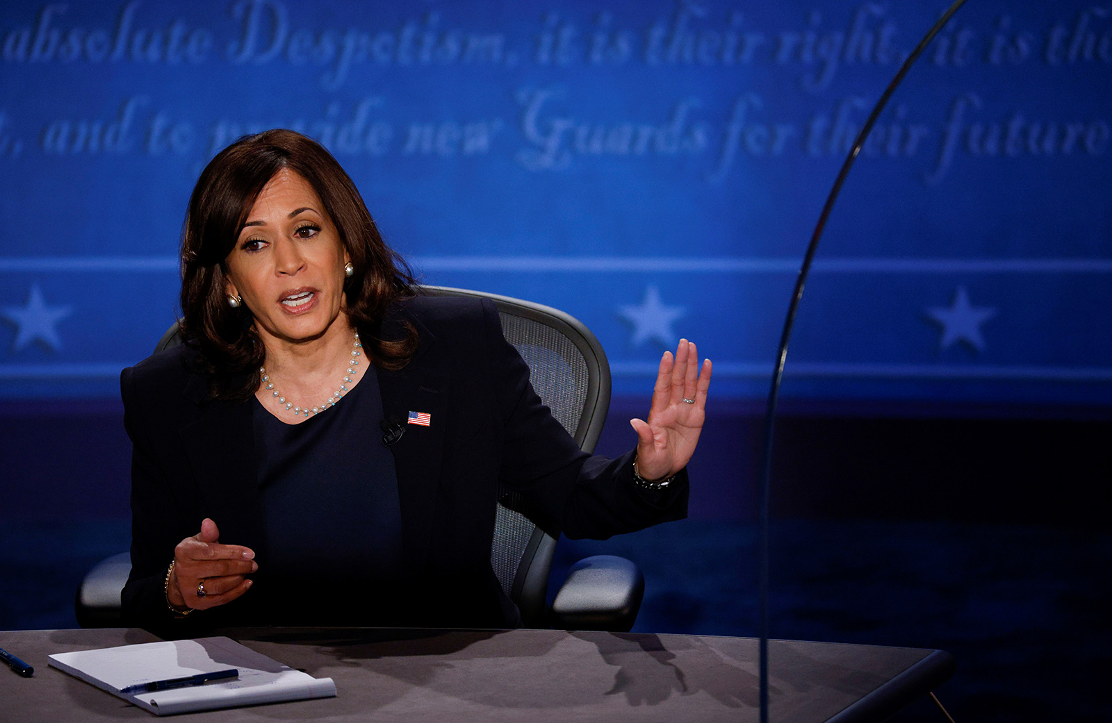 Democratic vice presidential nominee Senator Kamala Harris speaks during the vice presidential campaign debate with U.S. Vice President Mike Pence in Salt Lake City on Wednesday.