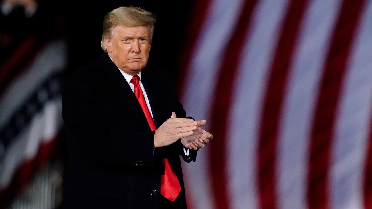 President Donald Trump attends a campaign rally on January 4 in Dalton, Georgia.