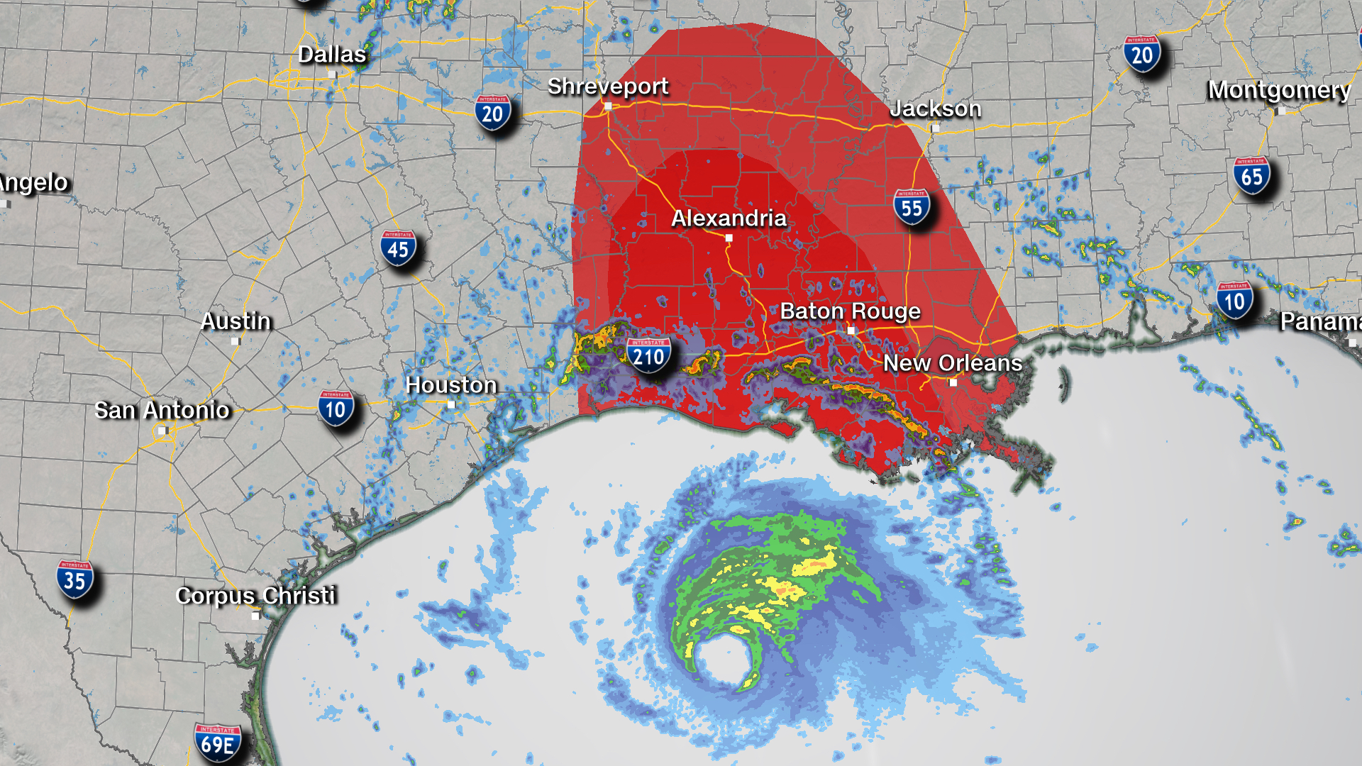 Tornadoes are possible within the area shaded in red.