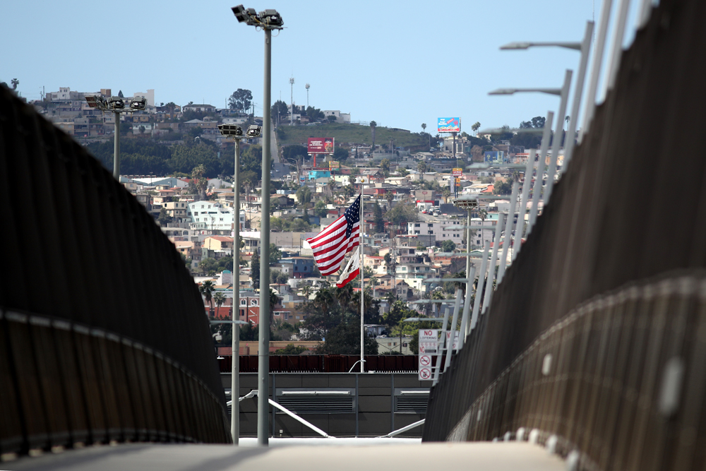 The empty pedestrian bridge leading to the San Ysidro Land Port of Entry on March 21 in San Diego, California.
