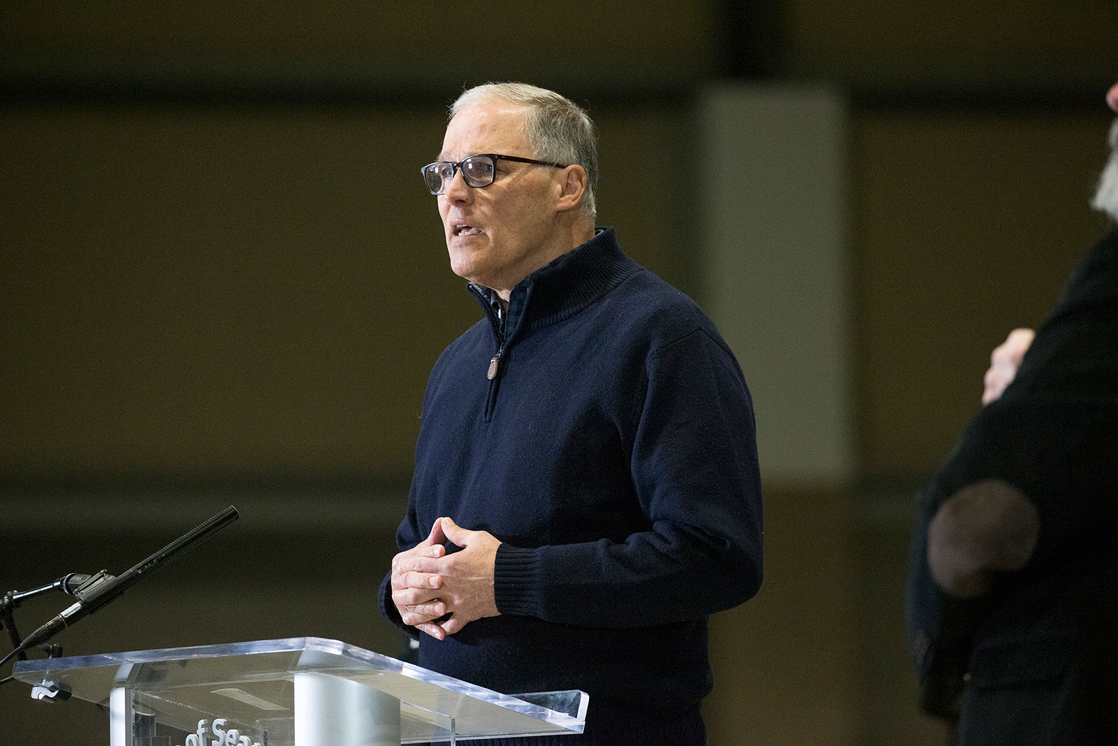 Washington Gov. Jay Inslee speaks during a press conference in March.