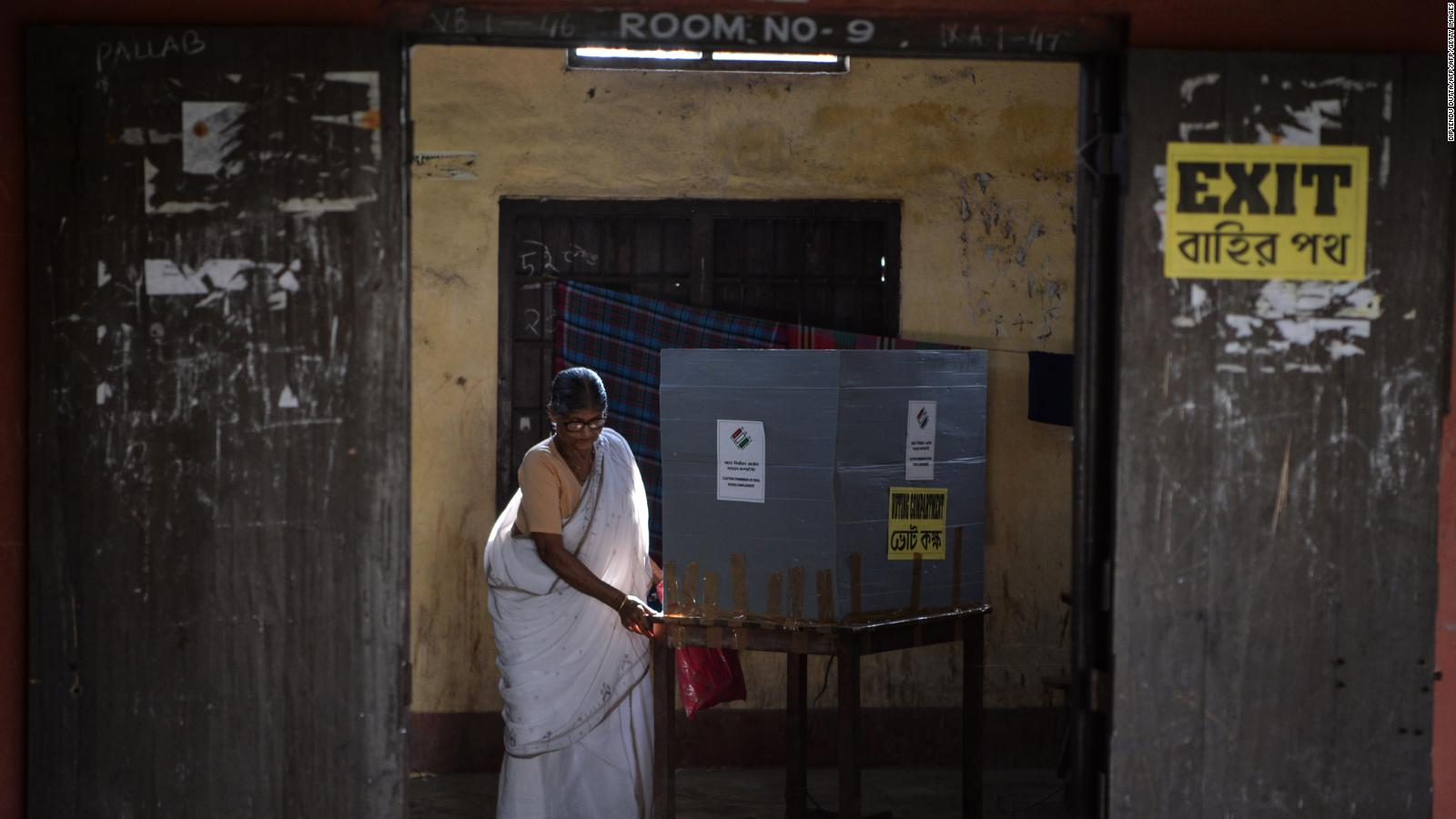 A woman casts her vote in West Bengal, among the first ballots cast in India's 2019 general election.
