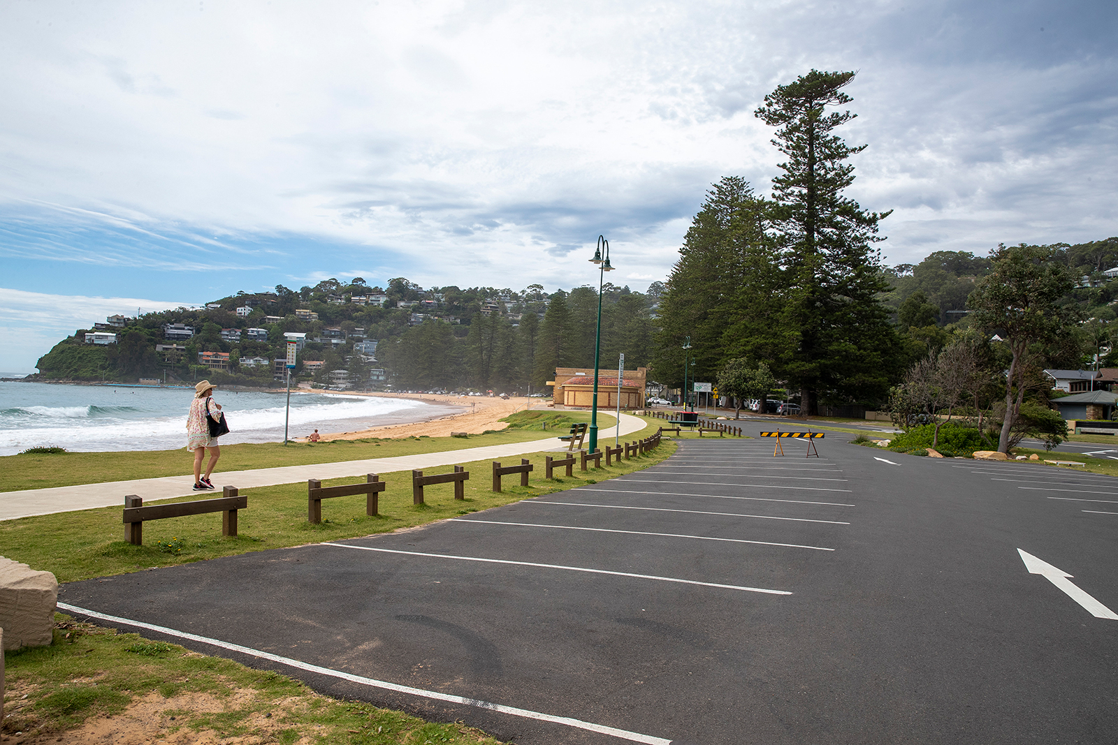 An empty parking lot is seen at Palm Beach in Sydney, on December 18.