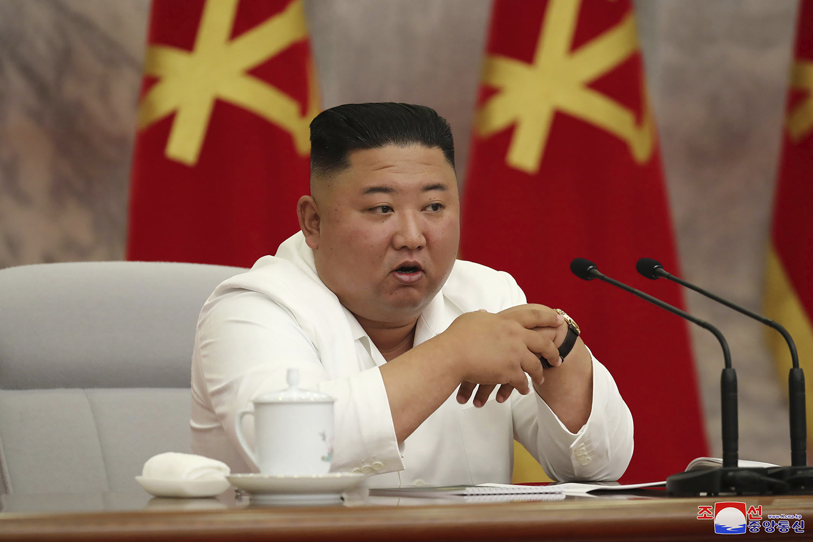 North Korean leader Kim Jong Un attends a meeting of the Central Committee of the Workers' Party of Korea in Pyongyang, on Thursday, June 2.