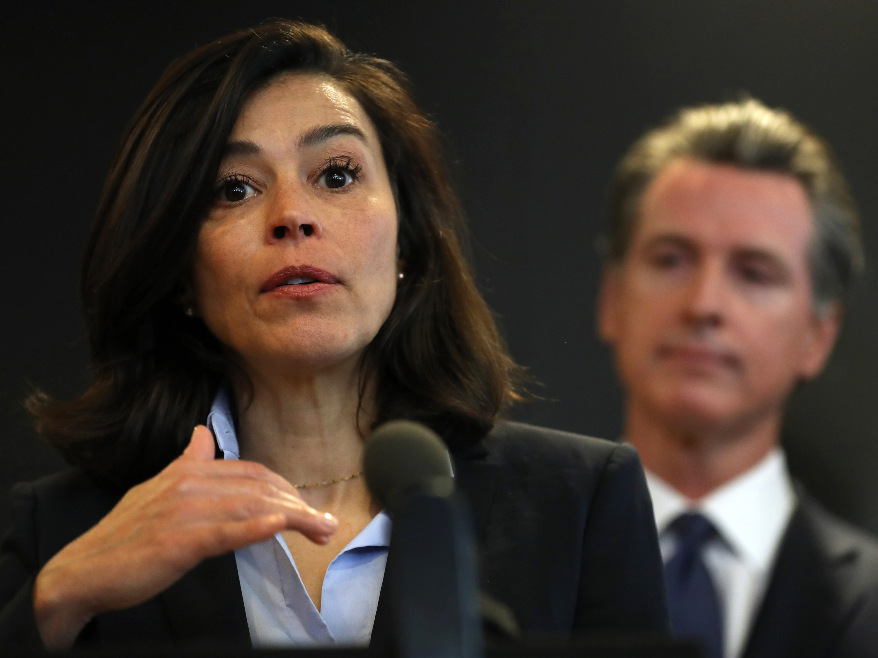Former California Department of Public Health Director and State Health Officer Dr. Sonia Angell speaks during a news conference at the California Department of Public Health on February 27 in Sacramento, California.