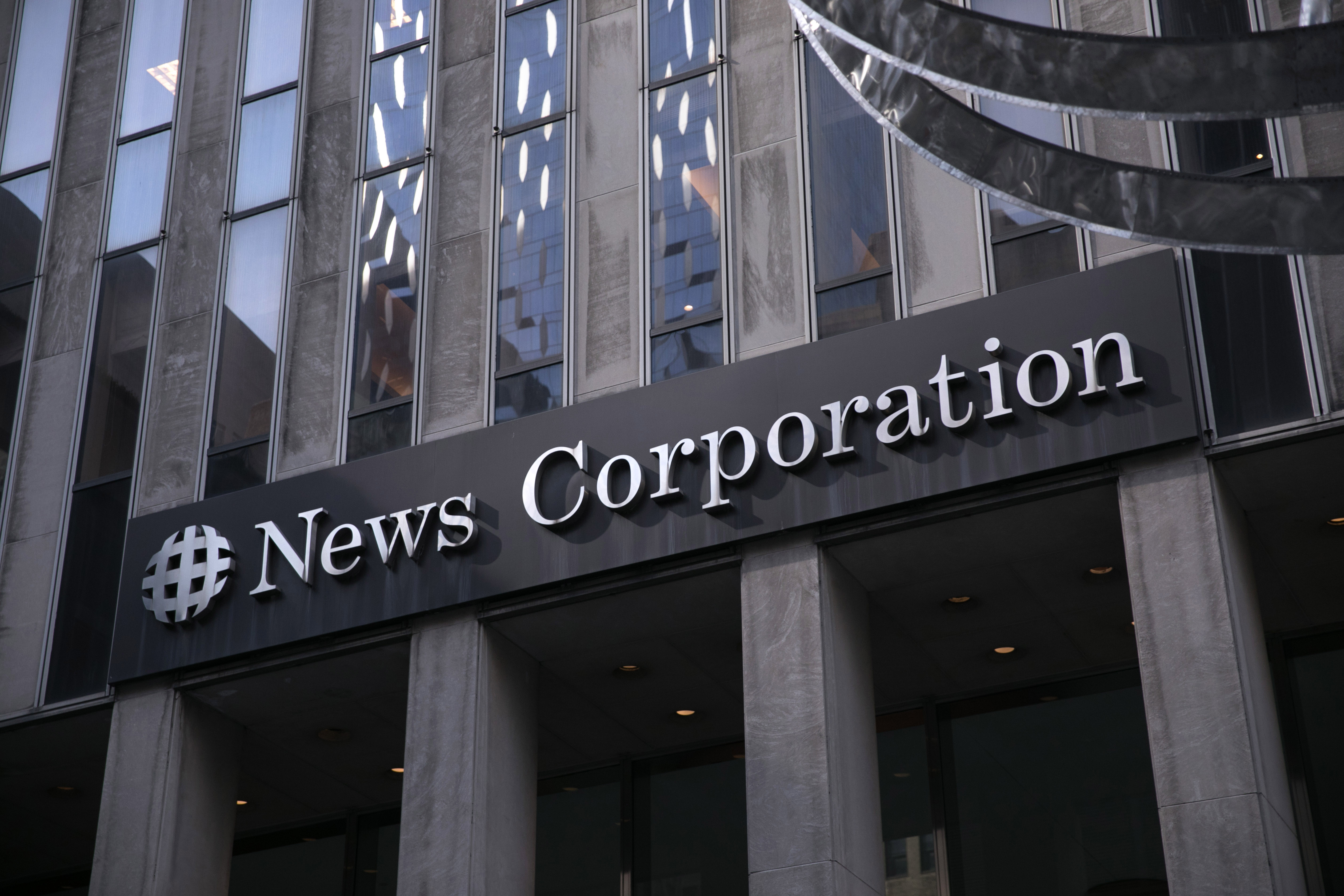The News Corp building in New York, home to The Wall Street Journal, is pictured on March 20, 2019.