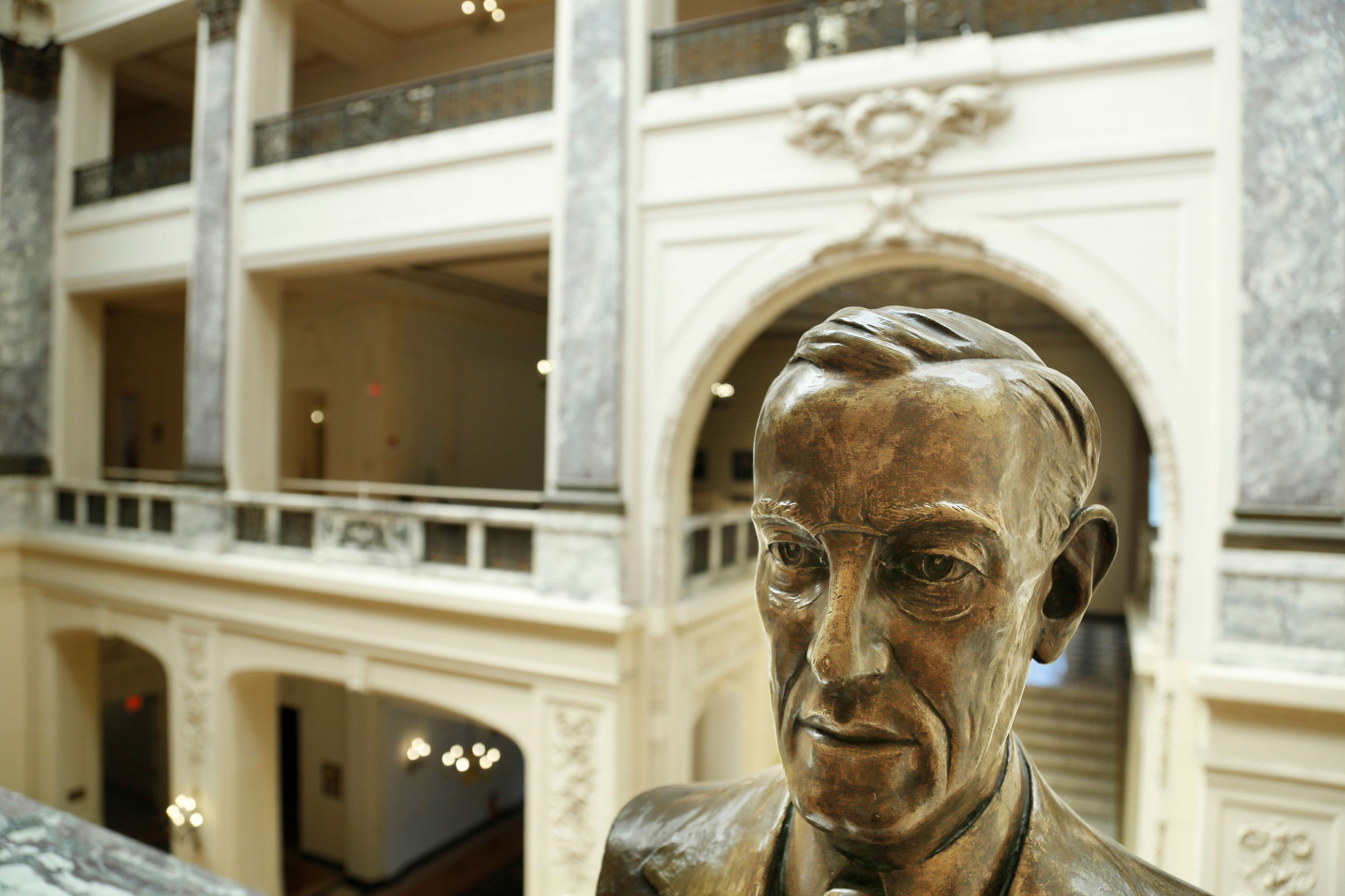 A bust of Woodrow Wilson is displayed in Woodrow Wilson Hall at Monmouth University in 2017.