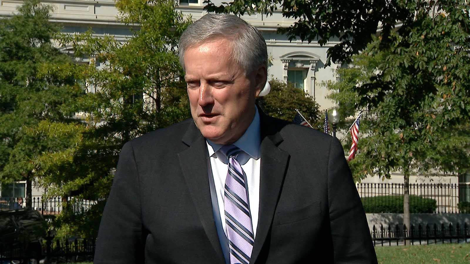White House chief of staff Mark Meadows speaks to the press from the White House on Friday.