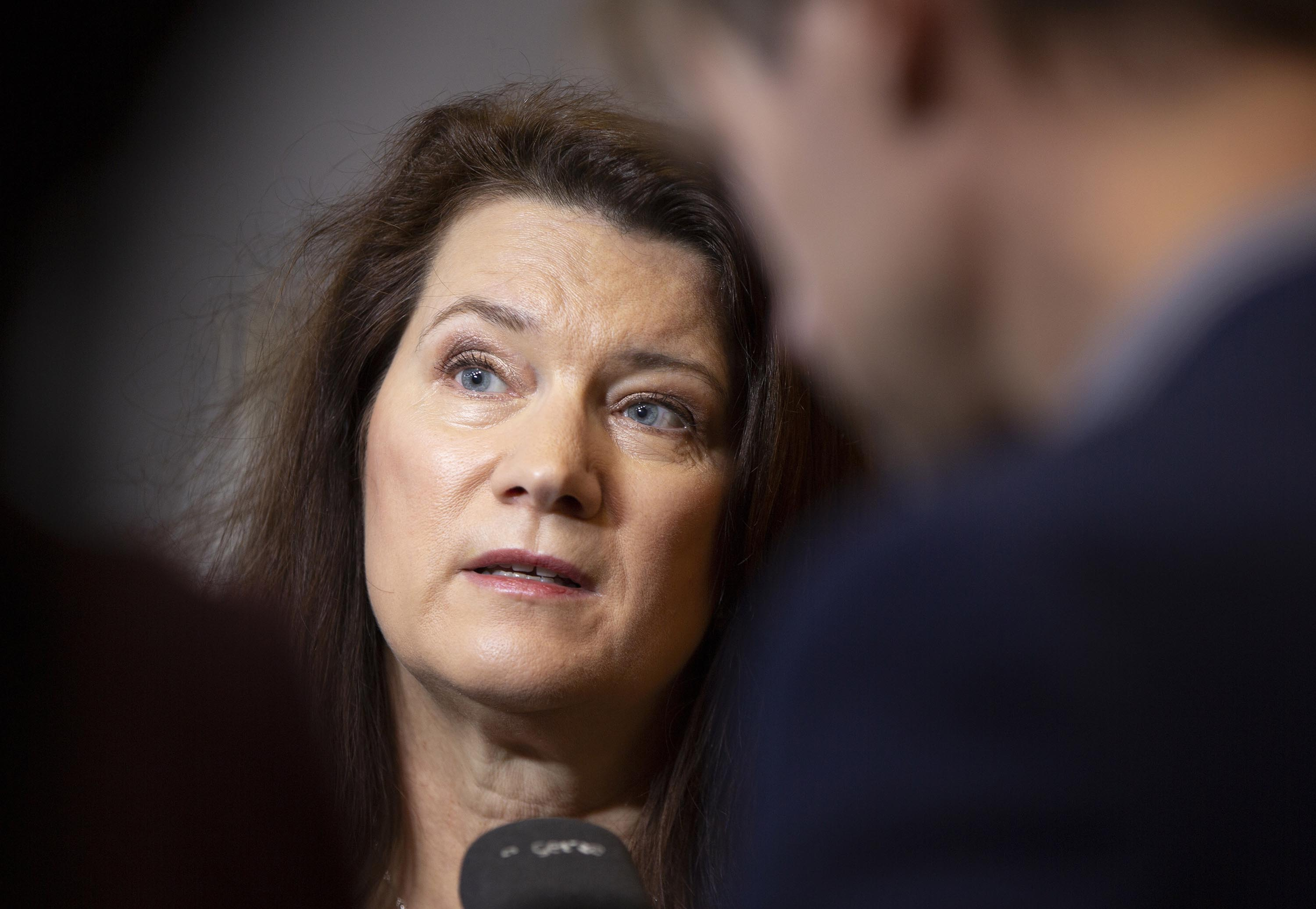 Swedish Foreign Minister Ann Linde speaks with journalists in Brussels, Belgium, in December.