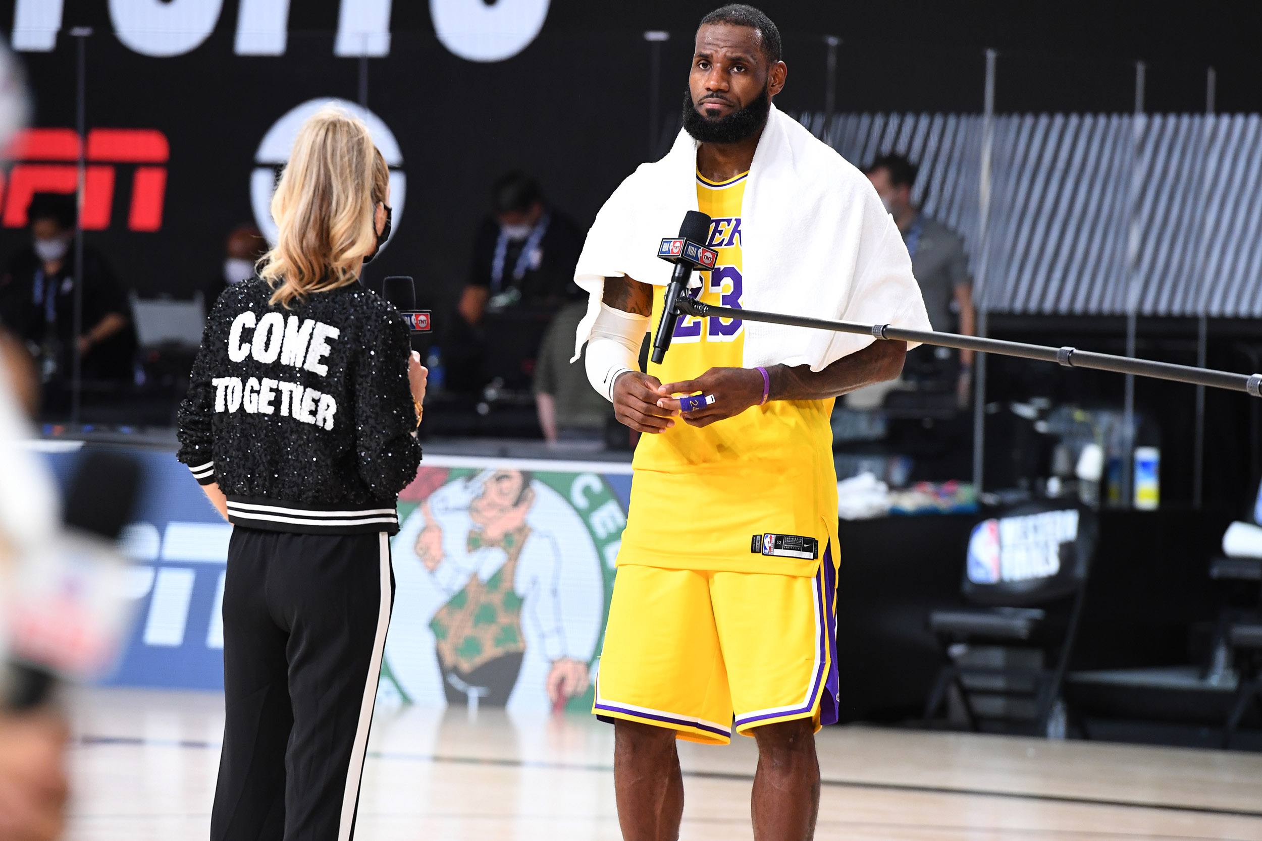 Turner Sports Reporter Allie LaForce interviews LeBron James #23 of the Los Angeles Lakers after a game against the Denver Nuggets during Game 4 of the Western Conference Finals on September 24, in Orlando, Florida at the AdventHealth Arena.