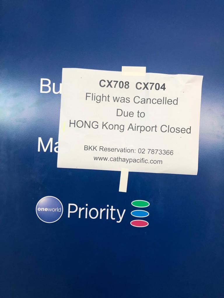 Flights from Bangkok to Hong Kong have been canceled.
