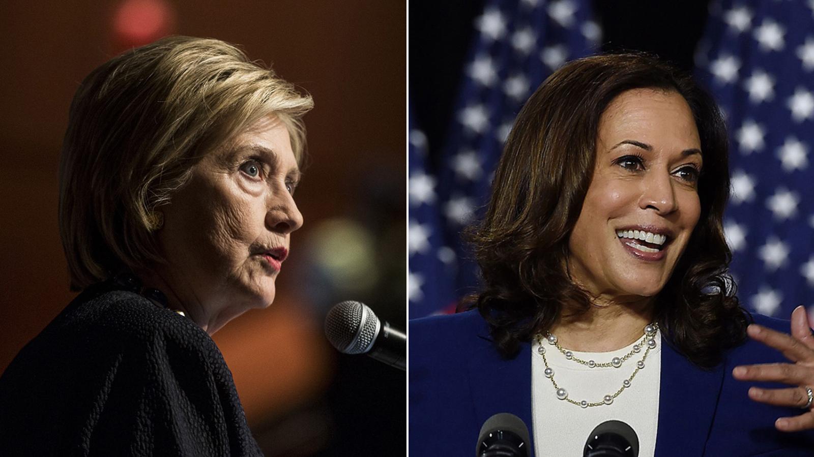 Former Secretary of State Hillary Clinton and Sen. Kamala Harris.