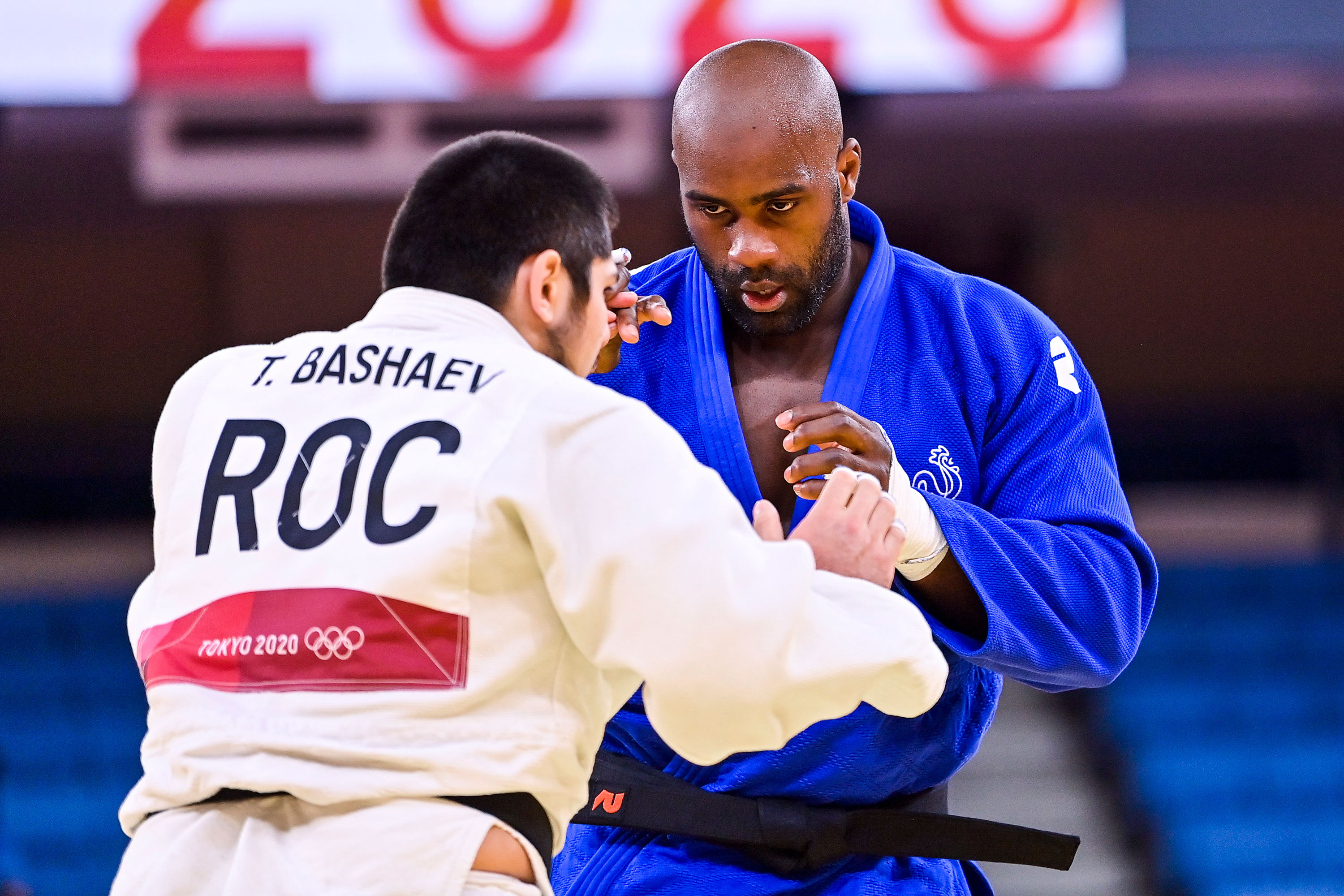 France's Teddy Riner competes against Russian Tamerlan Bashaev in the judo +100-kilograms quarterfinal on July 30.