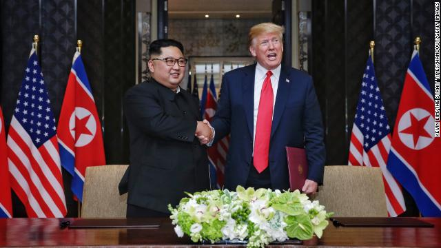 Kim and Trump during their summit at the Capella Hotel on Sentosa island on June 12, 2018 in Singapore.