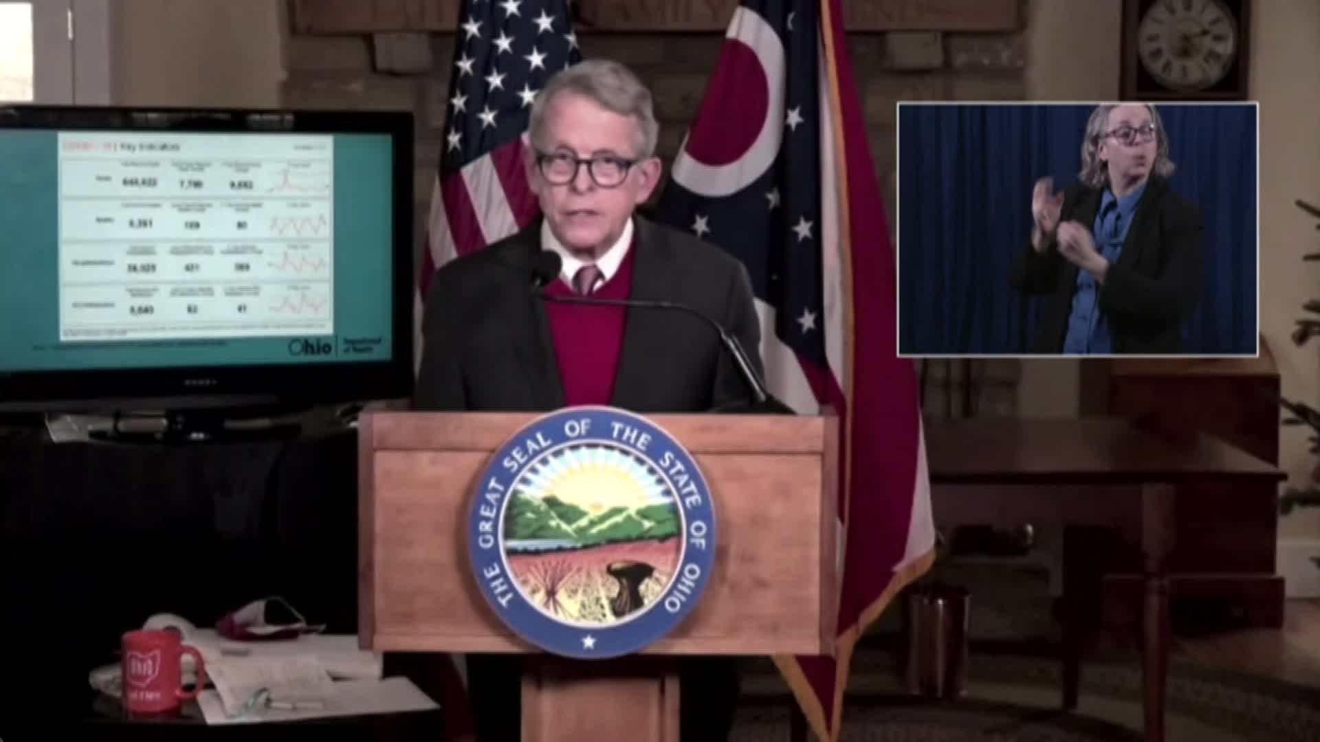 Ohio Gov. Mike DeWine speaks during a press conference in Cedarville, Ohio, on December 23.