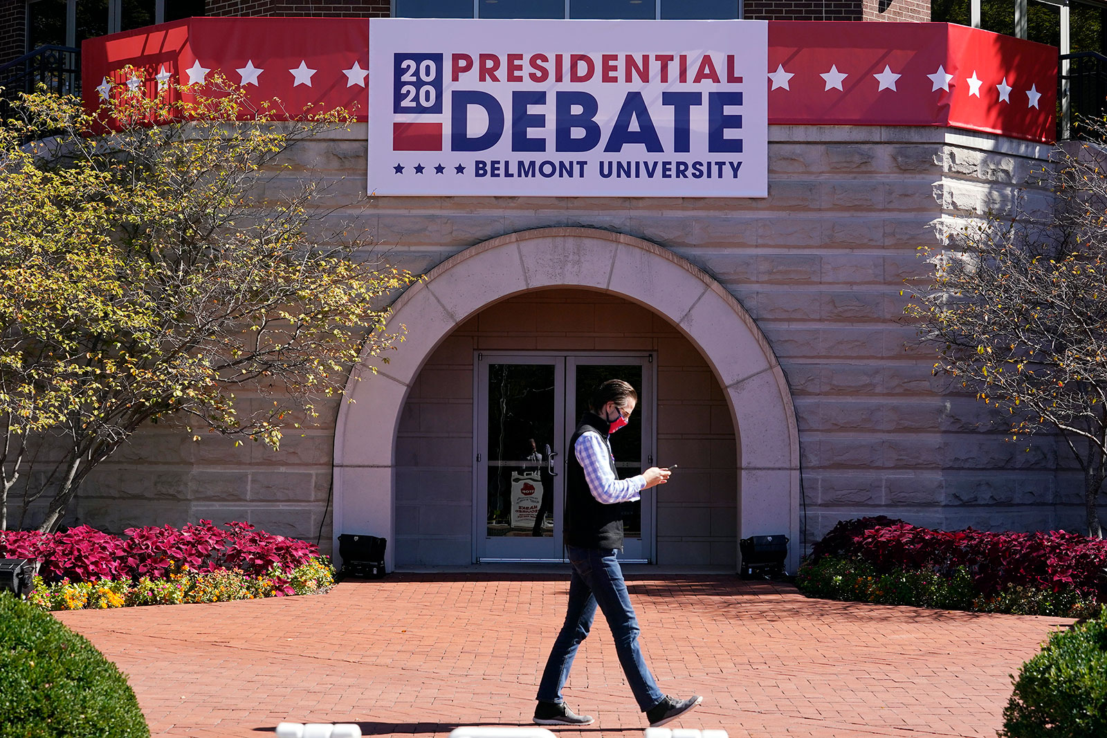 The Curb Event Center at Belmont University in Nashville is decorated ahead of Thurday's debate.