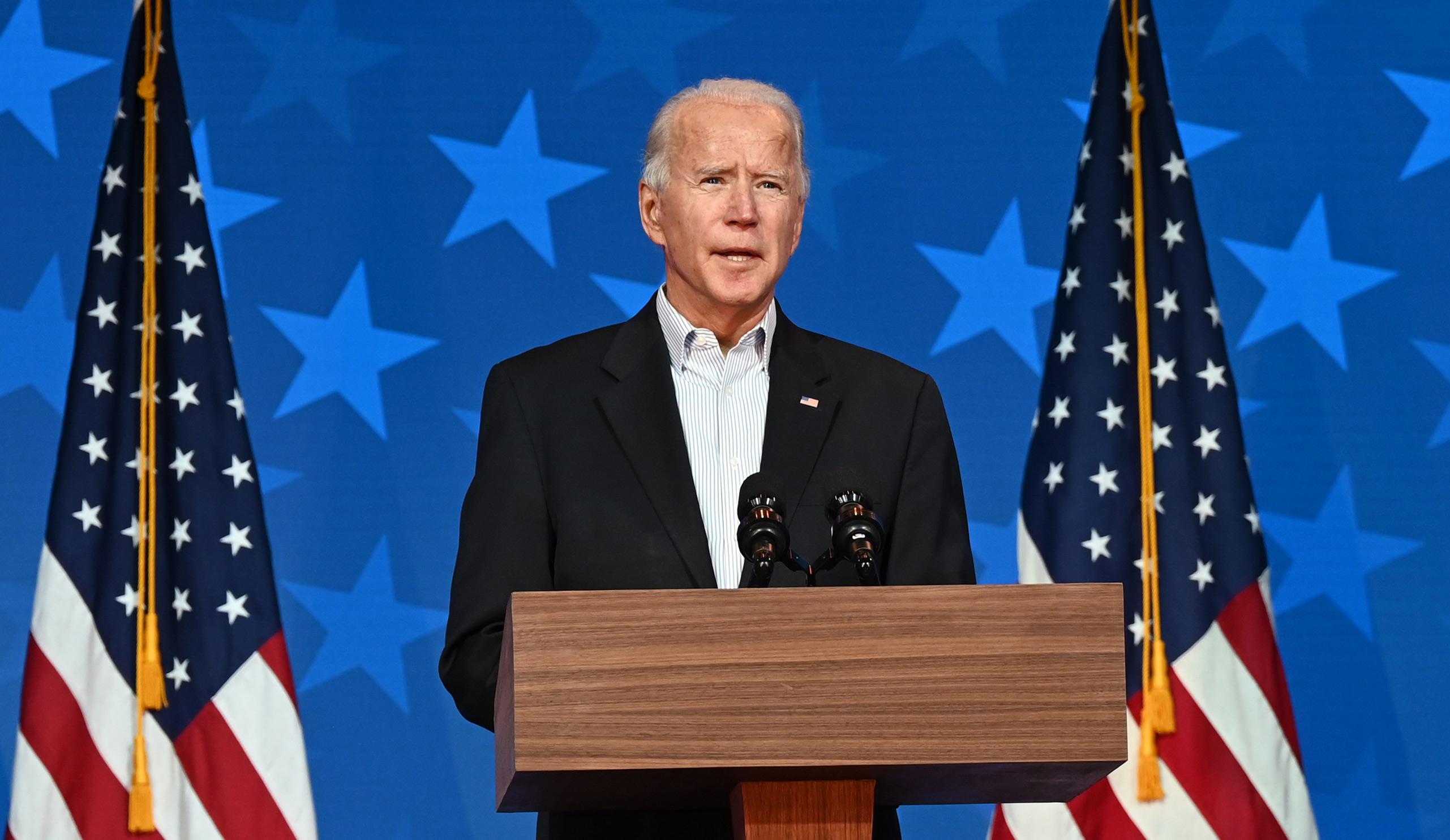 Democratic Presidential candidate Joe Biden speaks at the Queen venue in Wilmington, Delaware, on November 5.