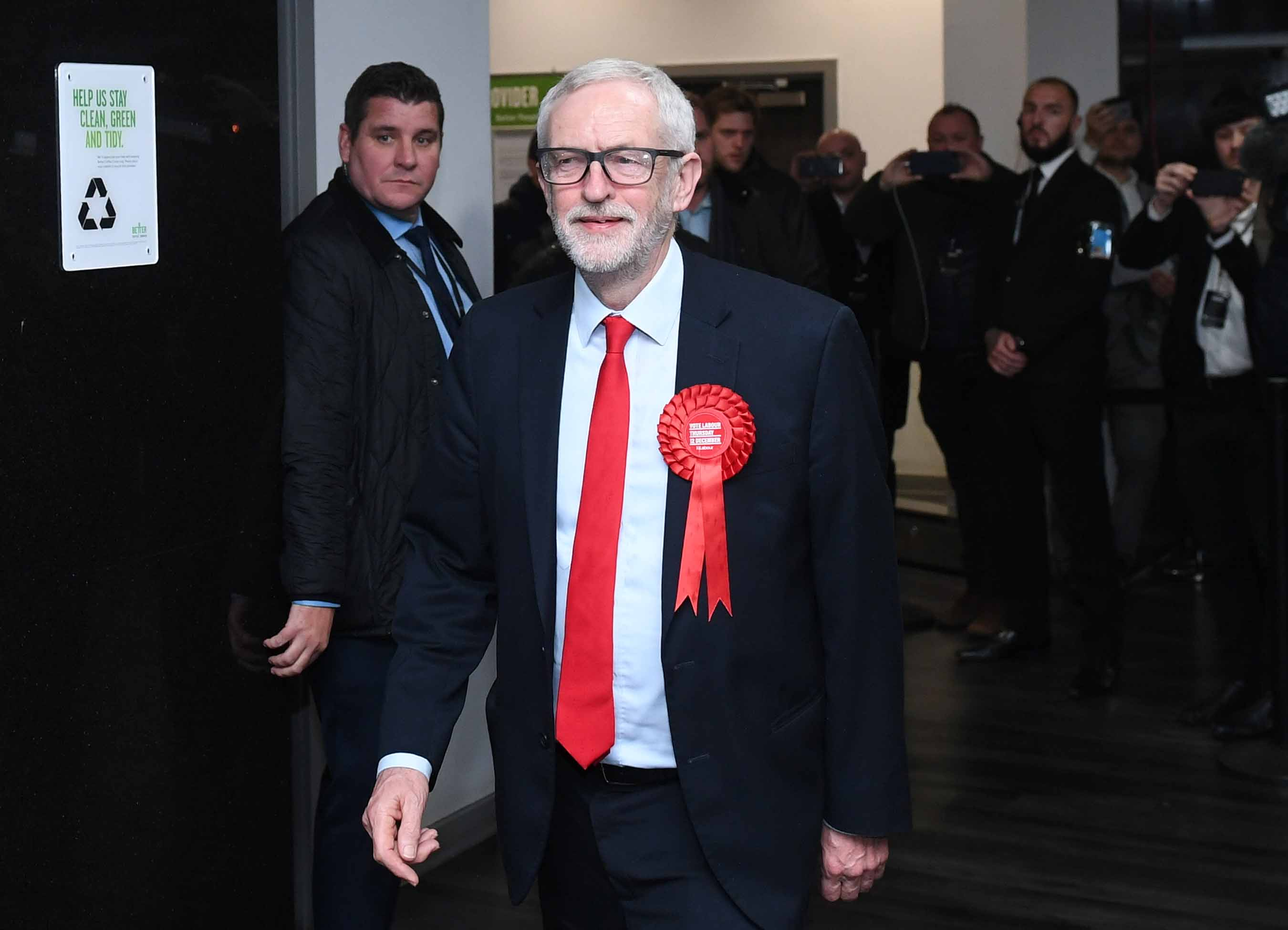 Labour leader Jeremy Corbyn arrives for the vote count at Sobell Leisure Centre in Islington North and South constituencies. Photo: Joe Giddens/PA Images via Getty Images