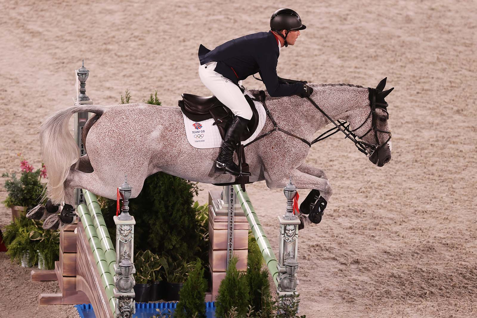 Oliver Townend of Great Britain competes during the eventing jumping team final and individual qualifier on August 2.
