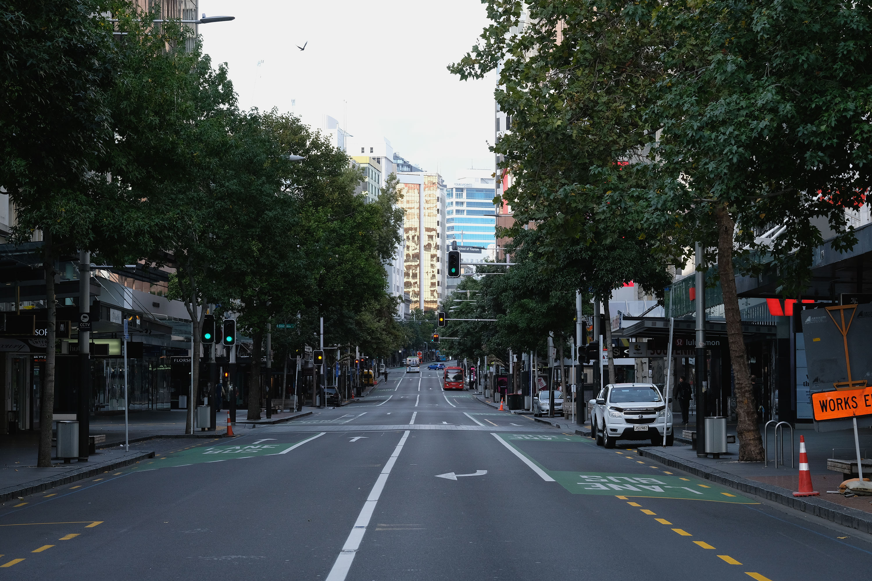 An empty street is seen in Auckland, New Zealand, on March 26.