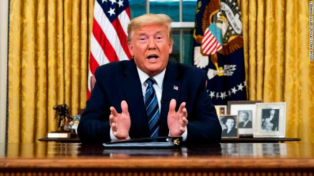 President Donald Trump addresses the nation from the Oval Office about the widening coronavirus crisis on March 11, in Washington, DC.