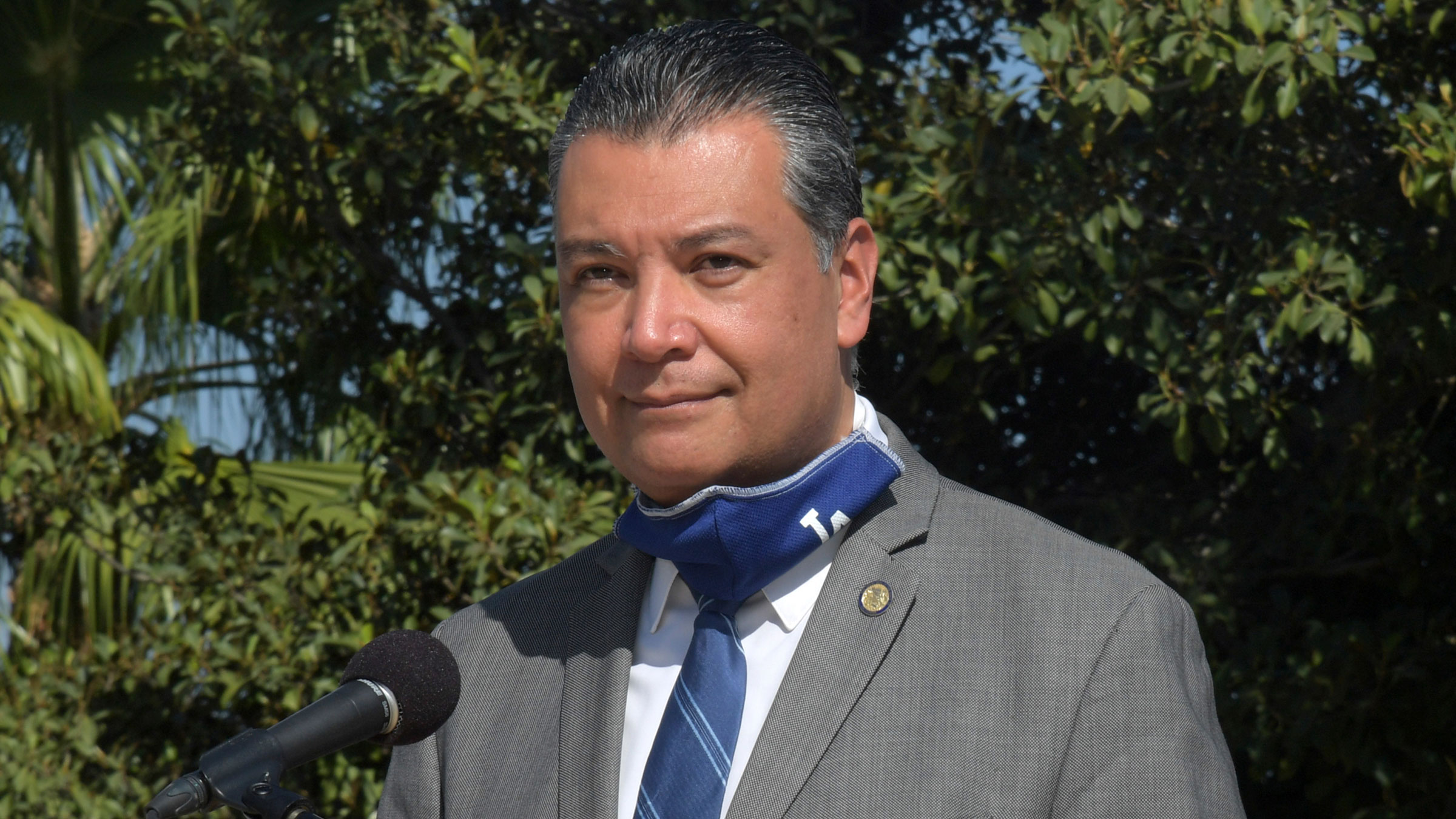 California Secretary of State Alex Padilla speaks during a news conference in September.