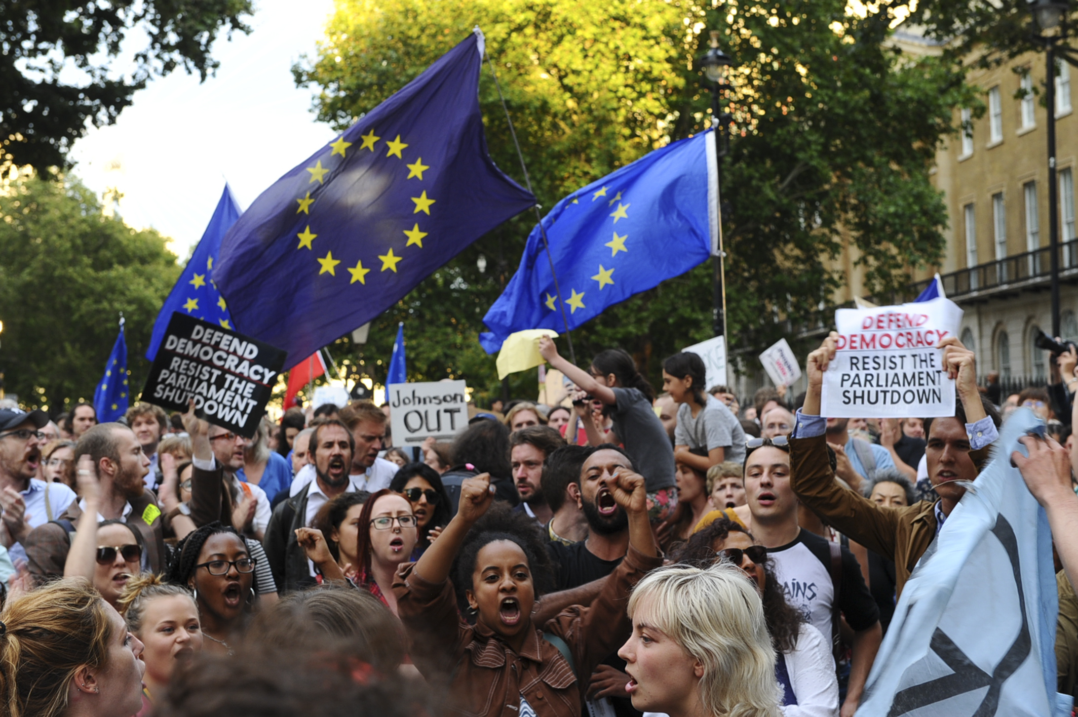 Demonstrators wave European Union flags and hold placards as they protest outside of Downing Street in London on August 28.