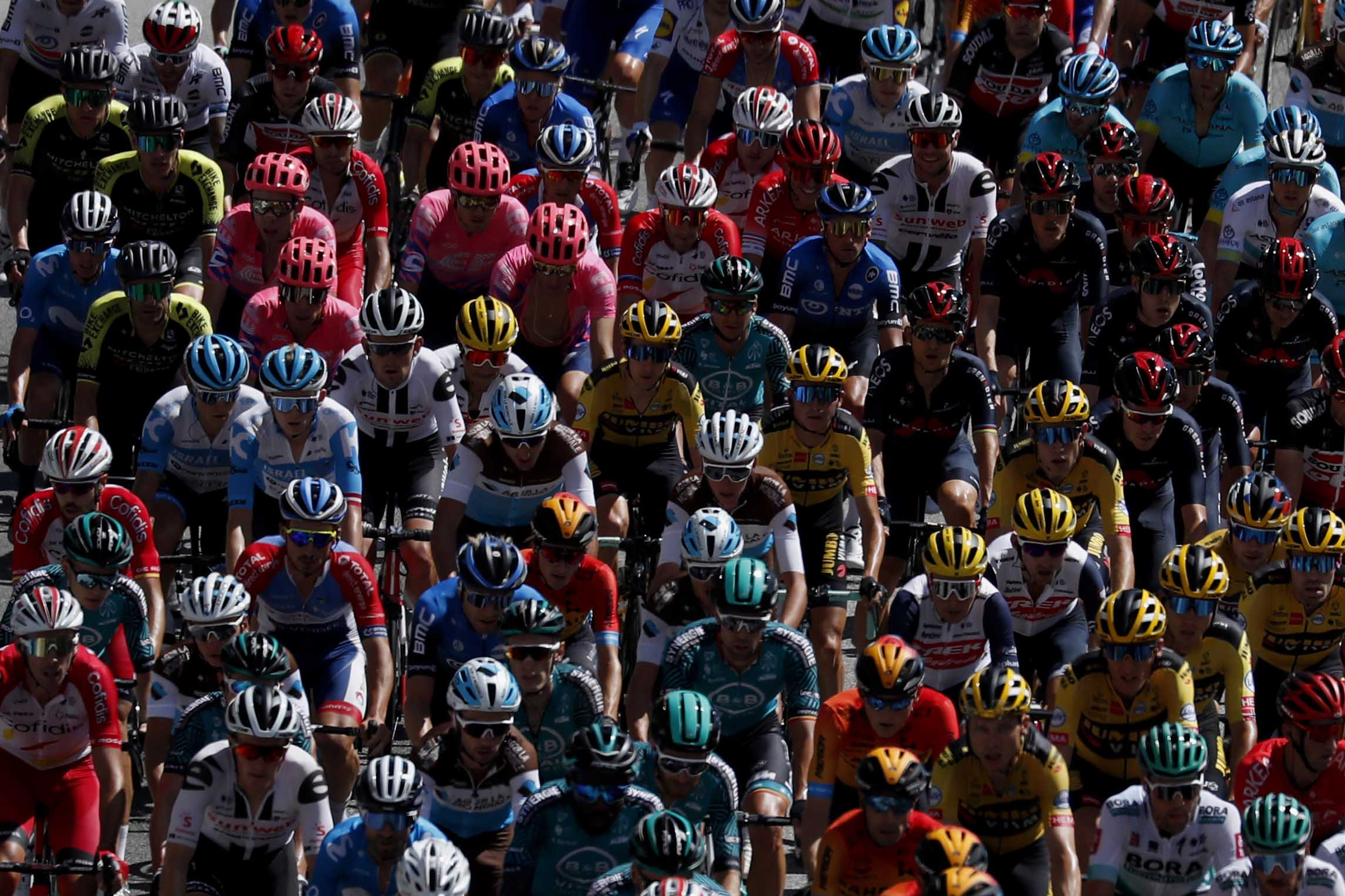 The pack rides during the second stage of the Tour de France cycling race in Nice, southern France, on Sunday, August 30.