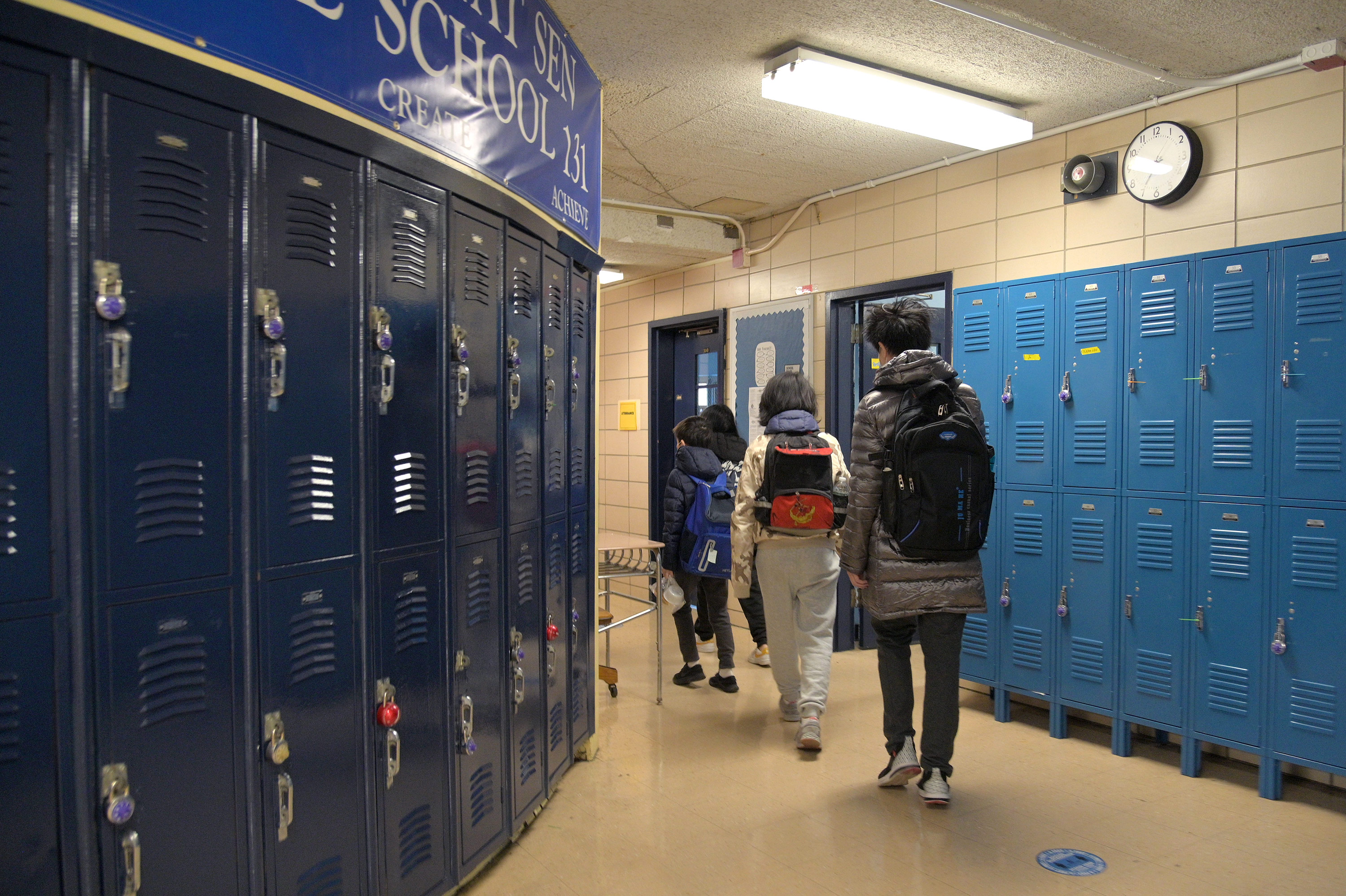 Students walk to class at Sun Yat Sen Middle School in New York City, on February 25.