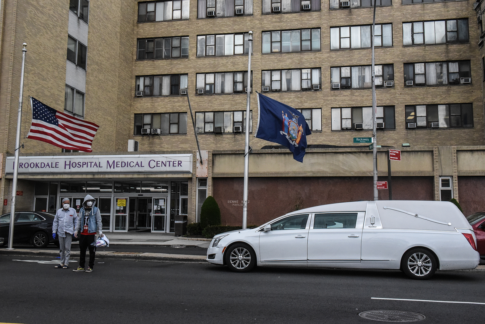 A white hearse stands outside the Brookdale Hospital Medical Center on April 27, in the Brooklyn borough in New York City.