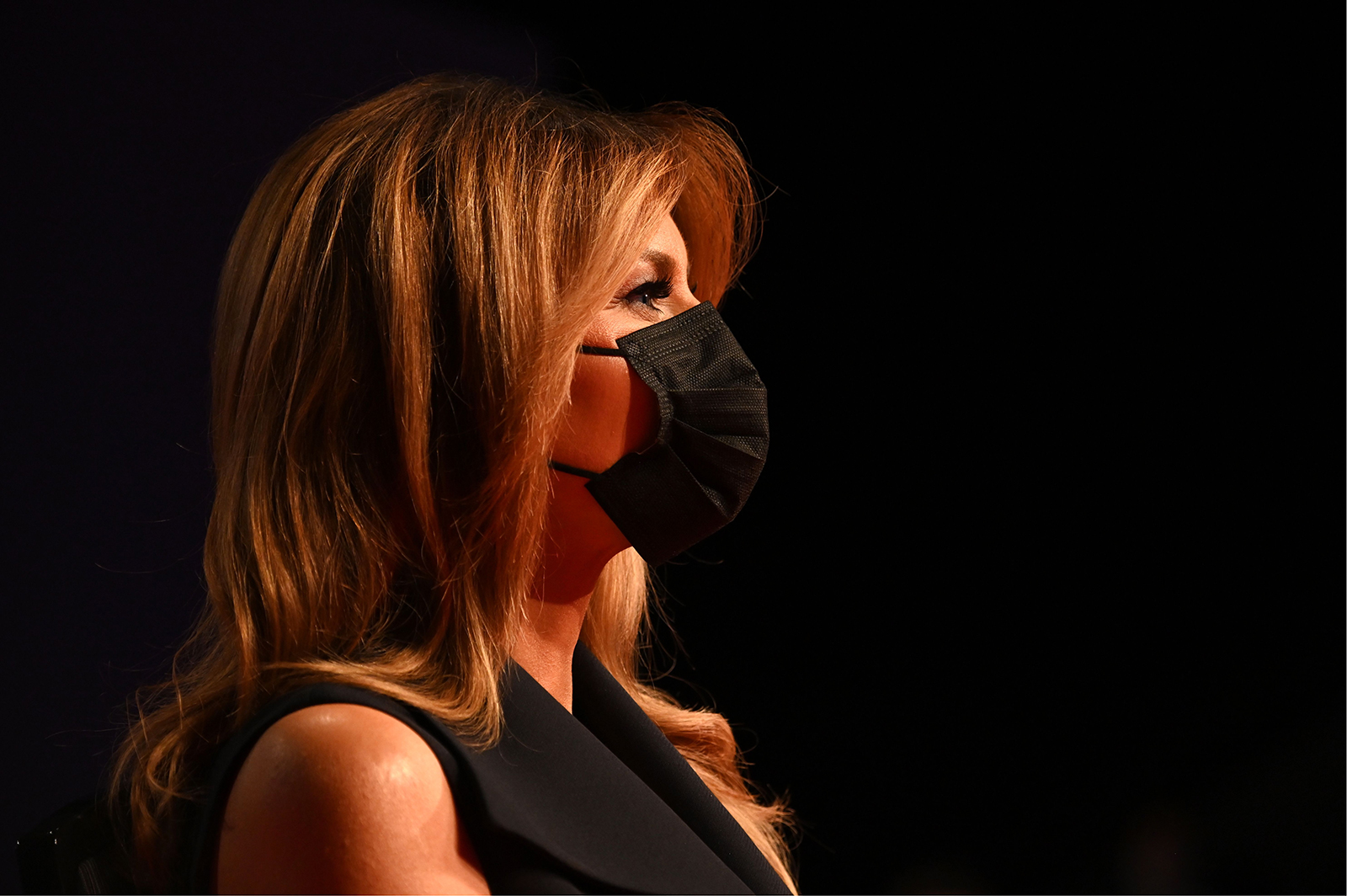 First Lady Melania Trump wears a face mask as she attends the final presidential debate at Belmont University in Nashville, Tennessee, on October 22.