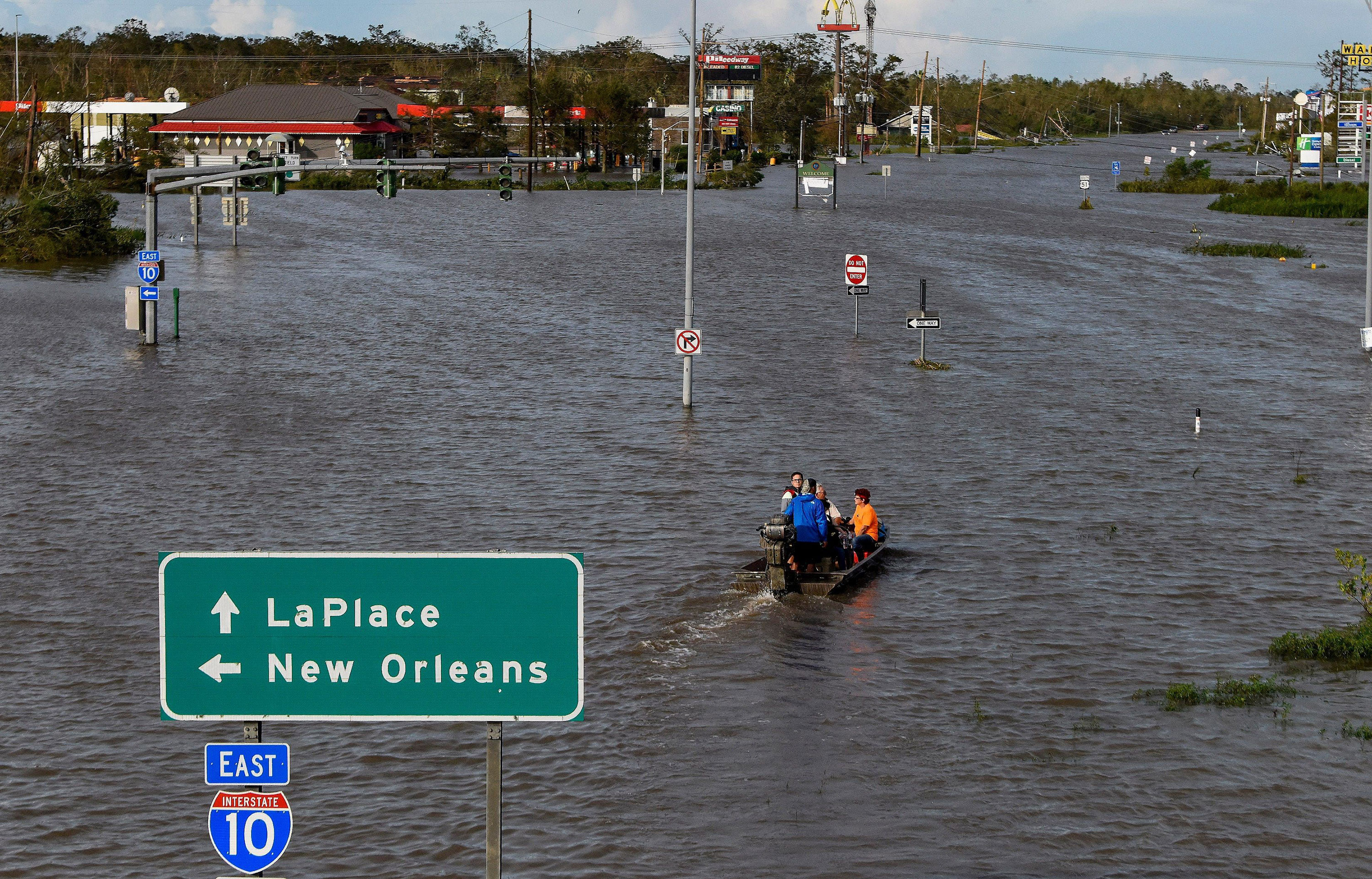Highway 51 is flooded after Hurricane Ida struck LaPlace, Louisiana.