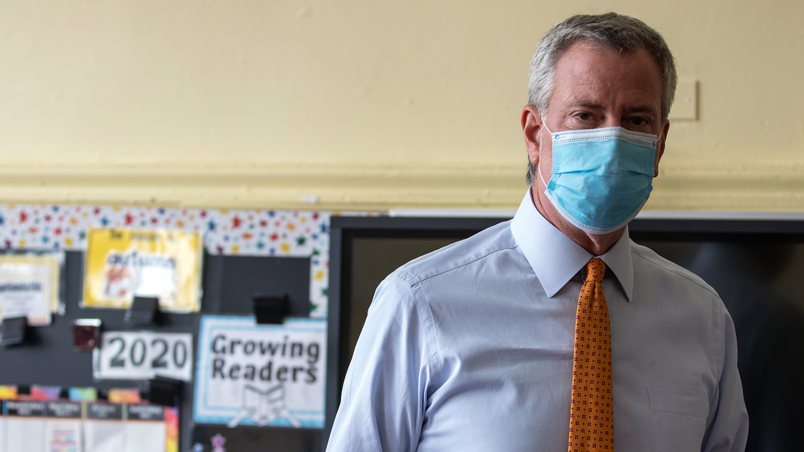 Bill de Blasio, mayor of New York, speaks during a news conference at New Bridges Elementary School in the Brooklyn borough of New York on Wednesday, August 19.