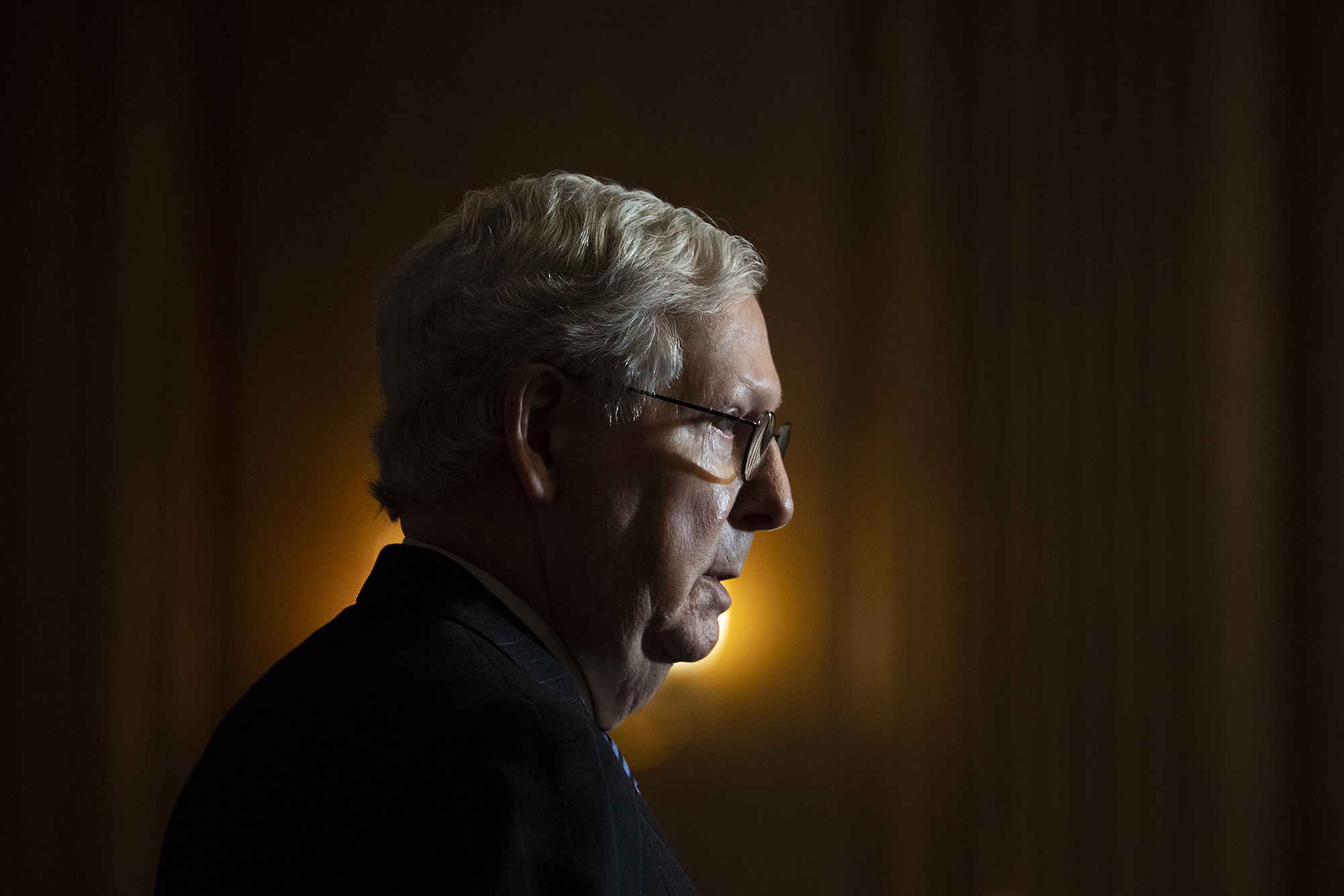 Senate Majority Leader Mitch McConnell conducts a news conference in the U.S. Capitol after the Senate Republican Policy luncheon on December 15.