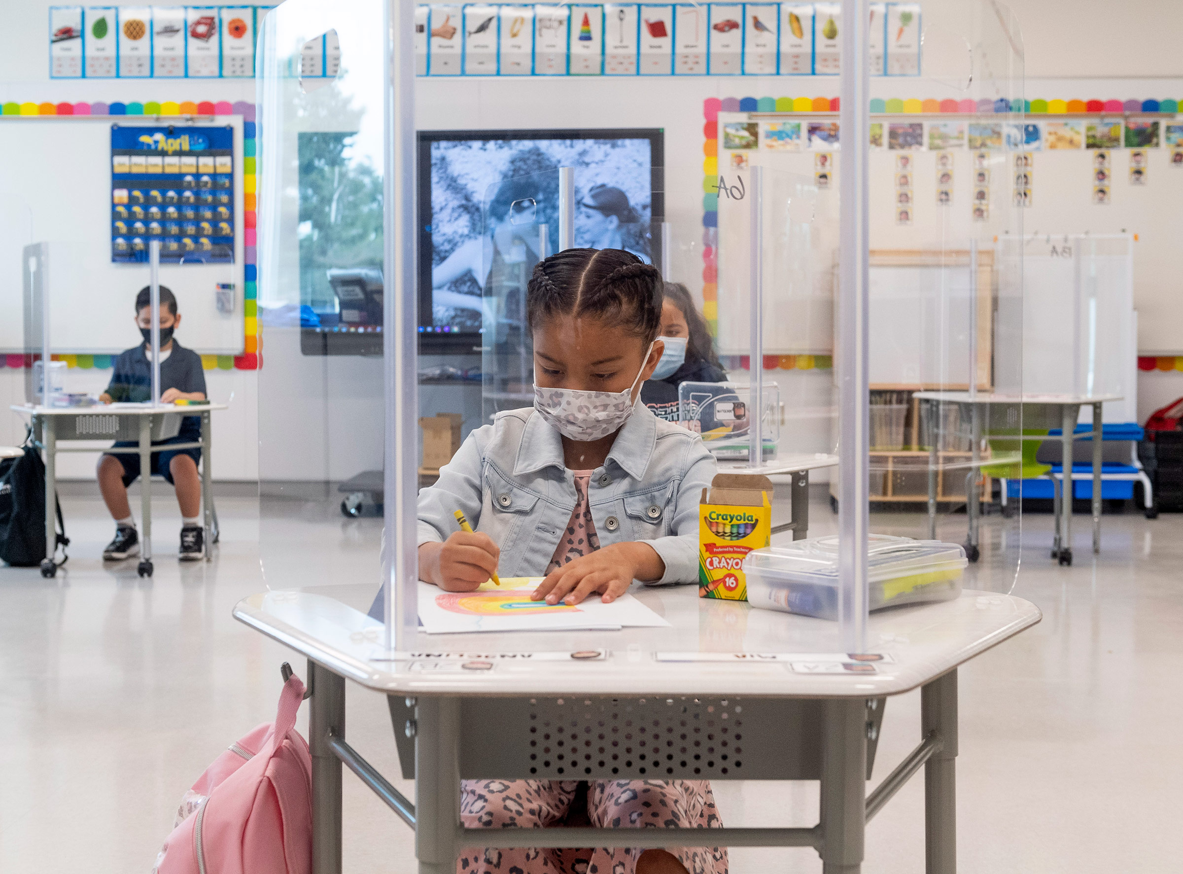 A student sits in a classroom at Sunkist Elementary in Anaheim, California, on April 21.