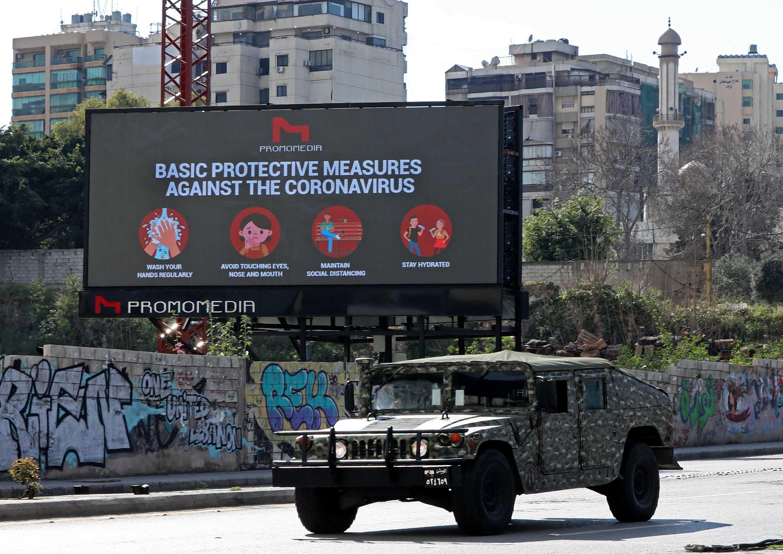 A military vehicle patrols in Beirut, Lebanon, amid the coronavirus pandemic, on March 22.