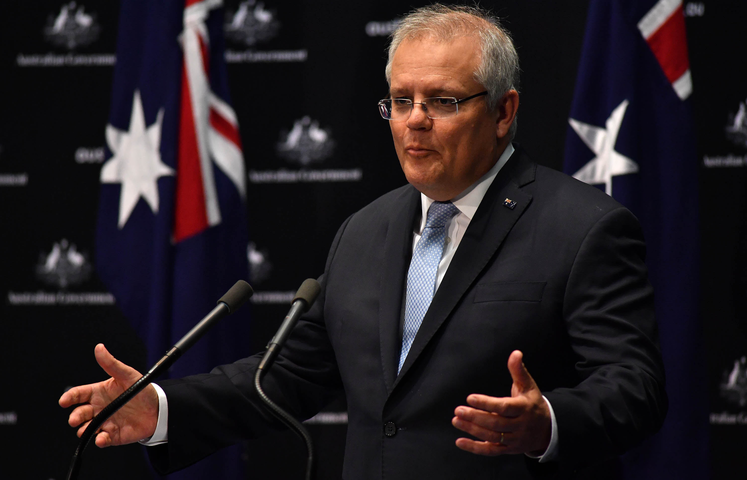 Australian Prime Minister Scott Morrison speaks during a press conference at Parliament House in Canberra, Australia, on June 12.