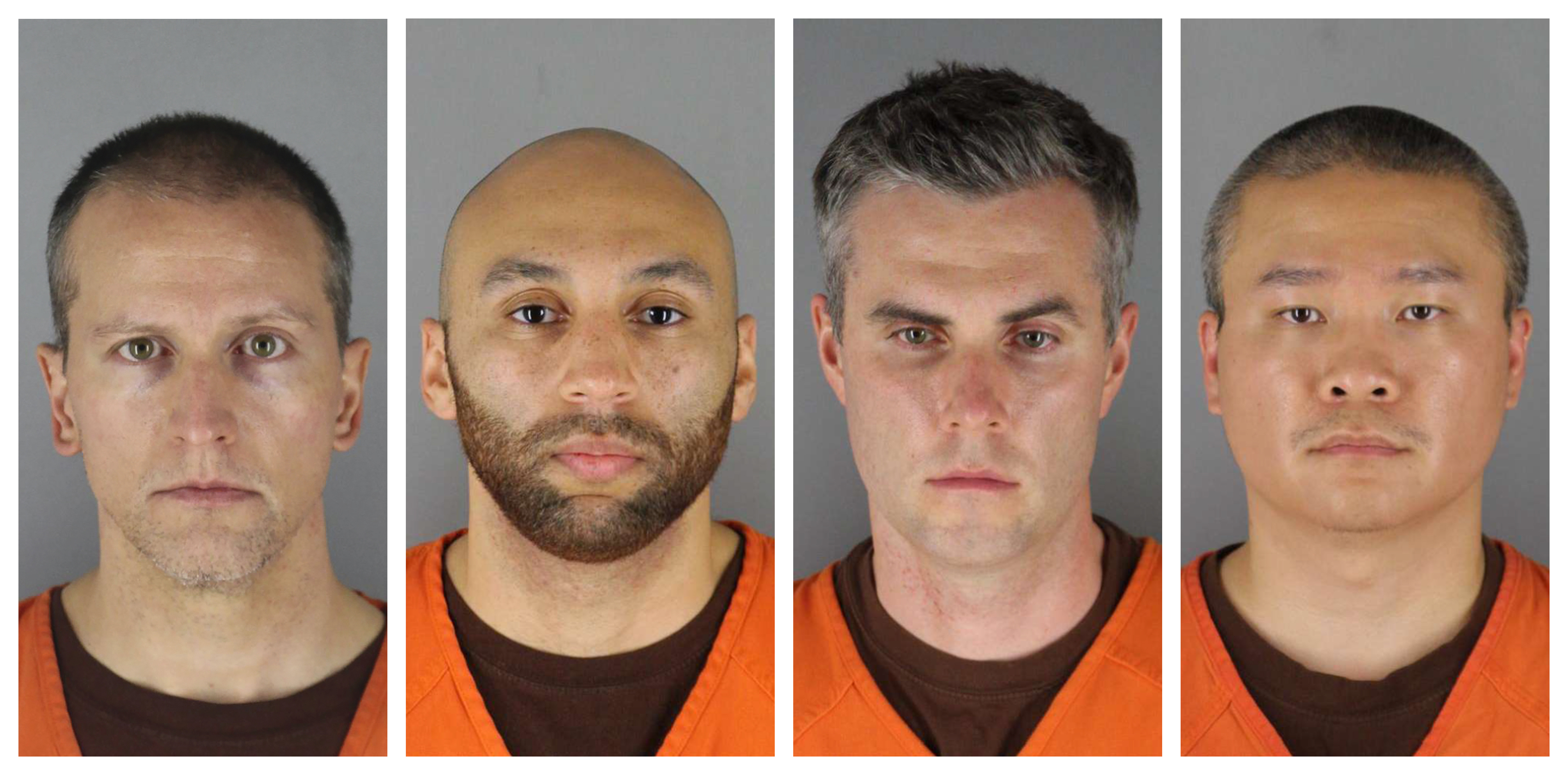 This combination of photos provided by the Hennepin County Sheriff's Office in Minnesota on June 3,  shows Derek Chauvin, from left, J. Alexander Kueng, Thomas Lane and Tou Thao.