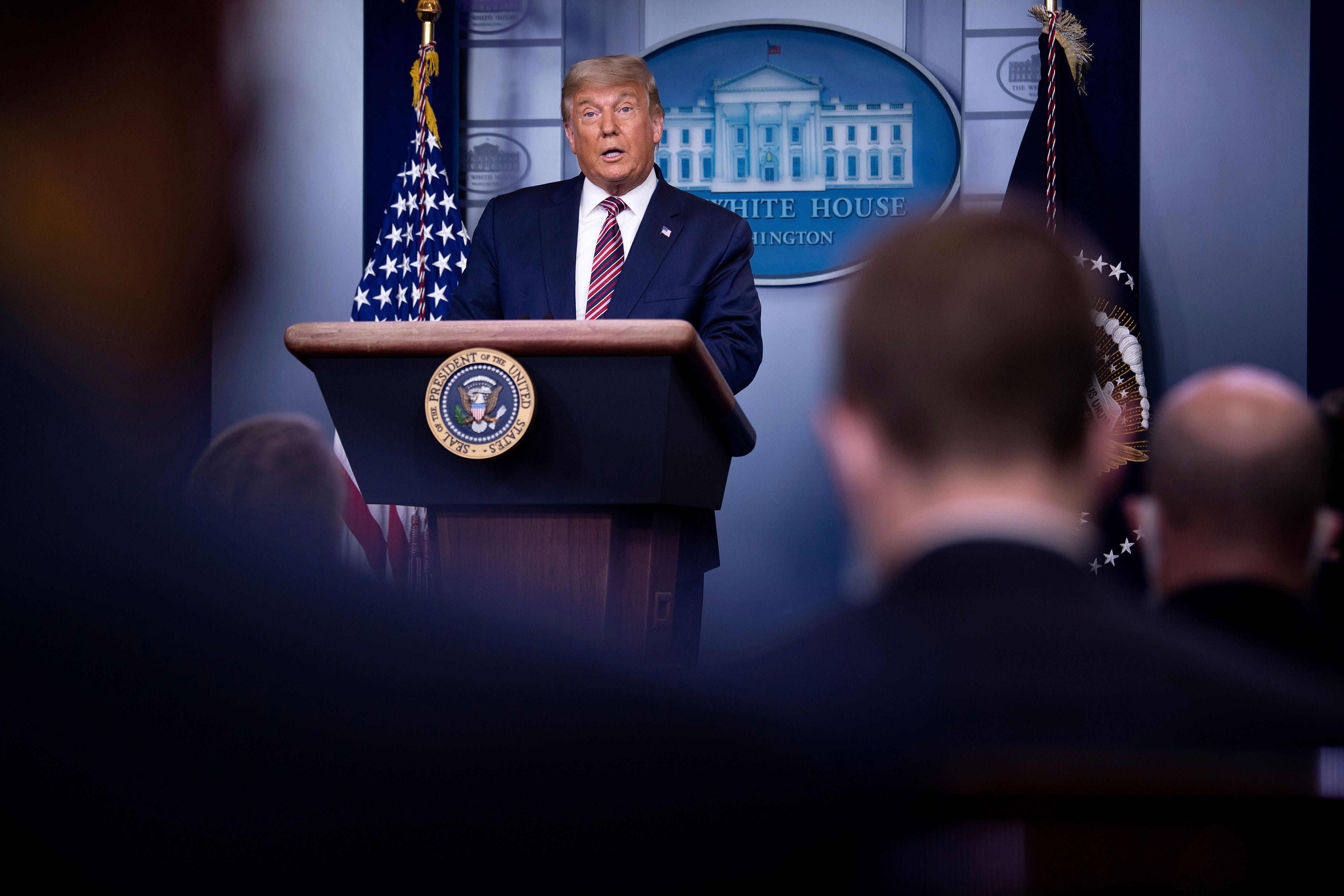 President Donald Trump speaks at the White House on November 5.