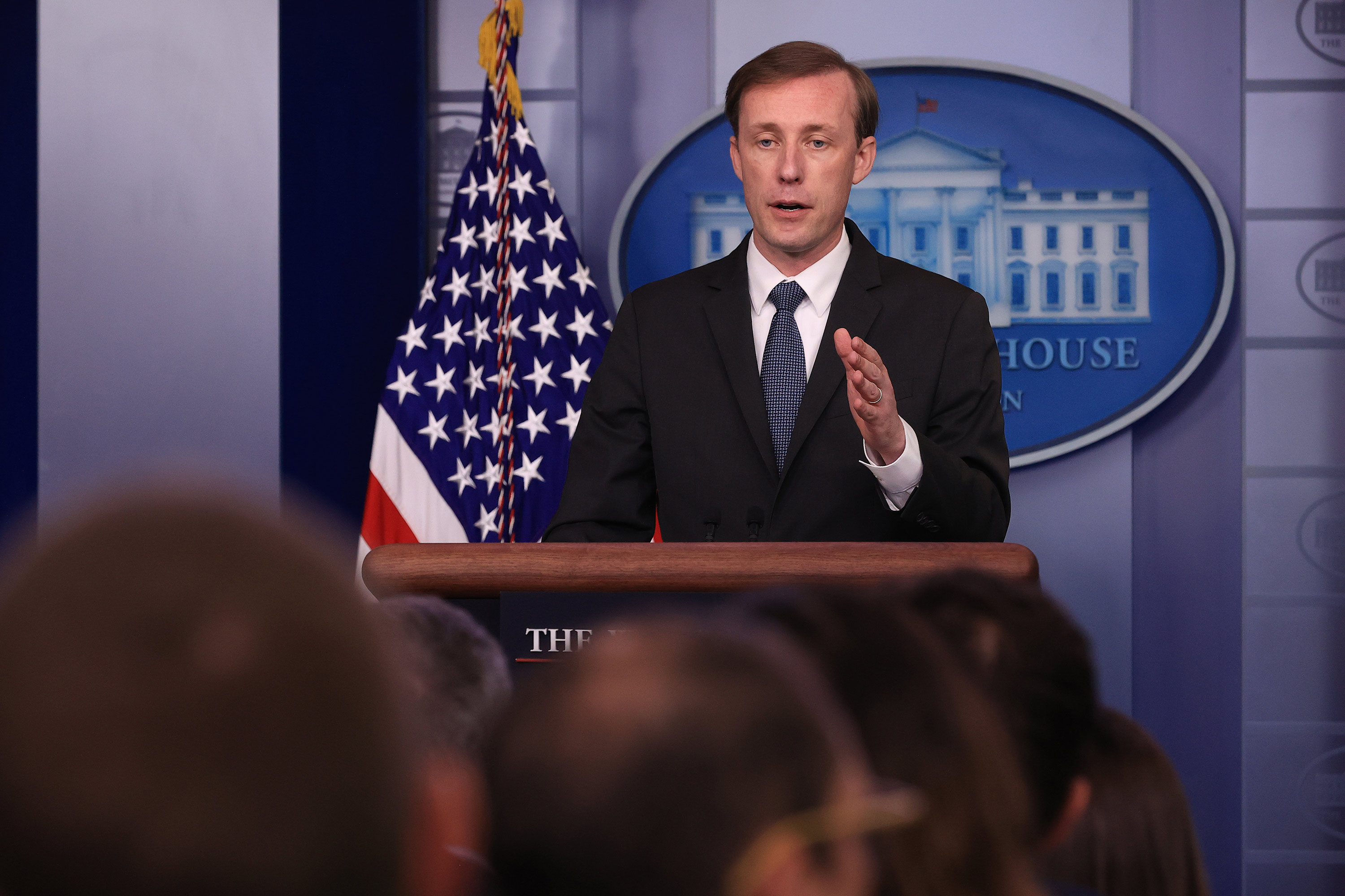 National Security Advisor Jake Sullivan talks to reporters during the daily news conference in the Brady Press Briefing Room at the White Houseon June 7 in Washington, DC.